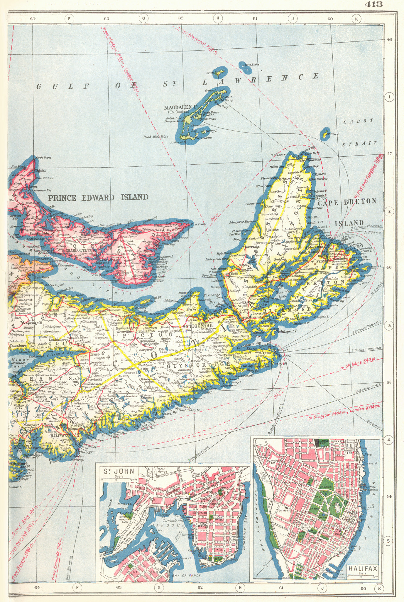 Associate Product NOVA SCOTIA EAST & PRINCE EDWARD ISLAND. Inset St John & Halifax plans 1920 map