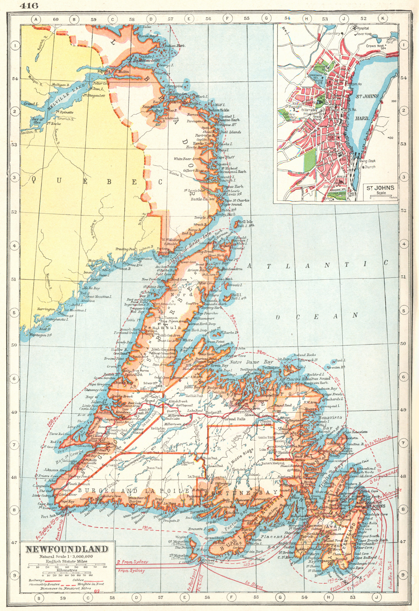 Associate Product NEWFOUNDLAND. inset St Johns. Canada. HARMSWORTH 1920 old antique map chart