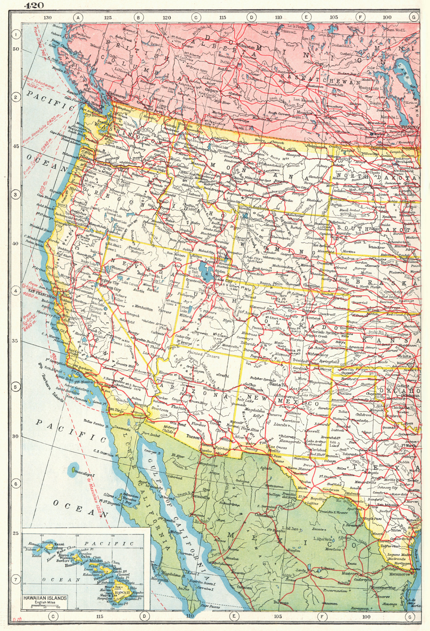 Associate Product UNITED STATES WEST RAILWAYS.Roads canals steamship routes;Inset Hawaii 1920 map
