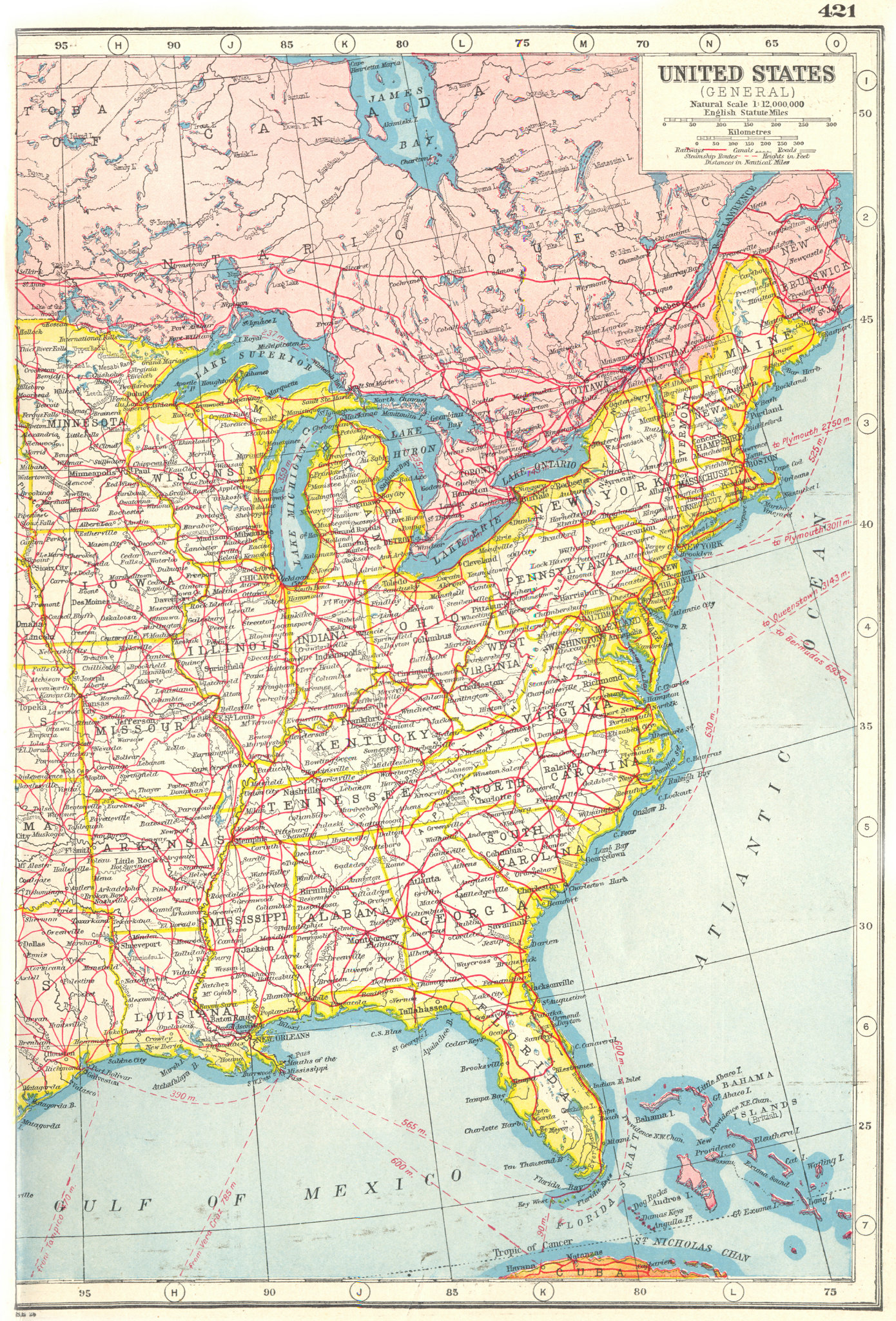Associate Product UNITED STATES EAST RAILWAYS. Roads canals steamship routes. USA 1920 old map