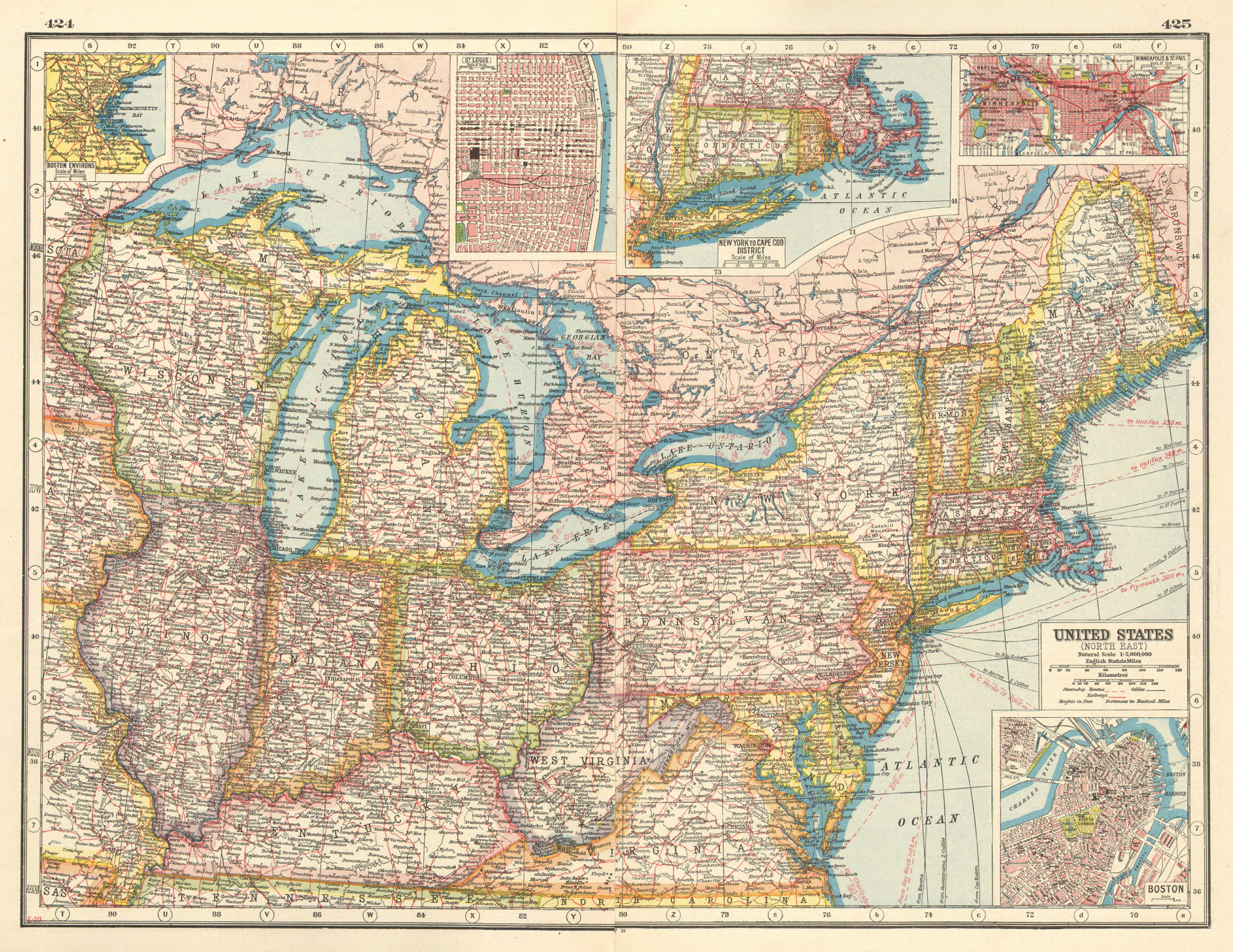 Associate Product USA NORTH EAST. Inset Boston St Louis New England Minneapolis plans 1920 map