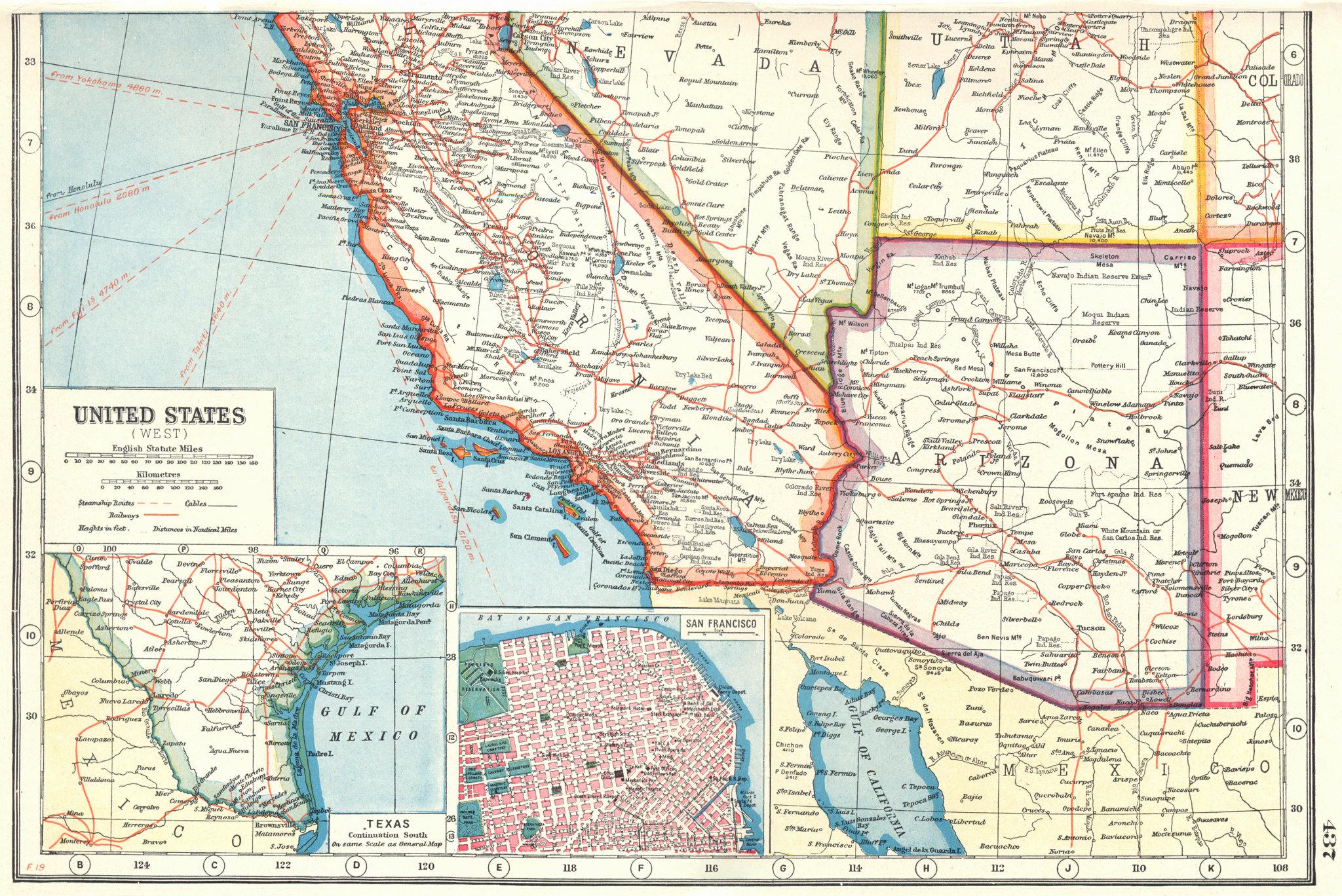 Associate Product USA SOUTH WEST. Arizona California. Inset plan of San Francisco. Texas 1920 map