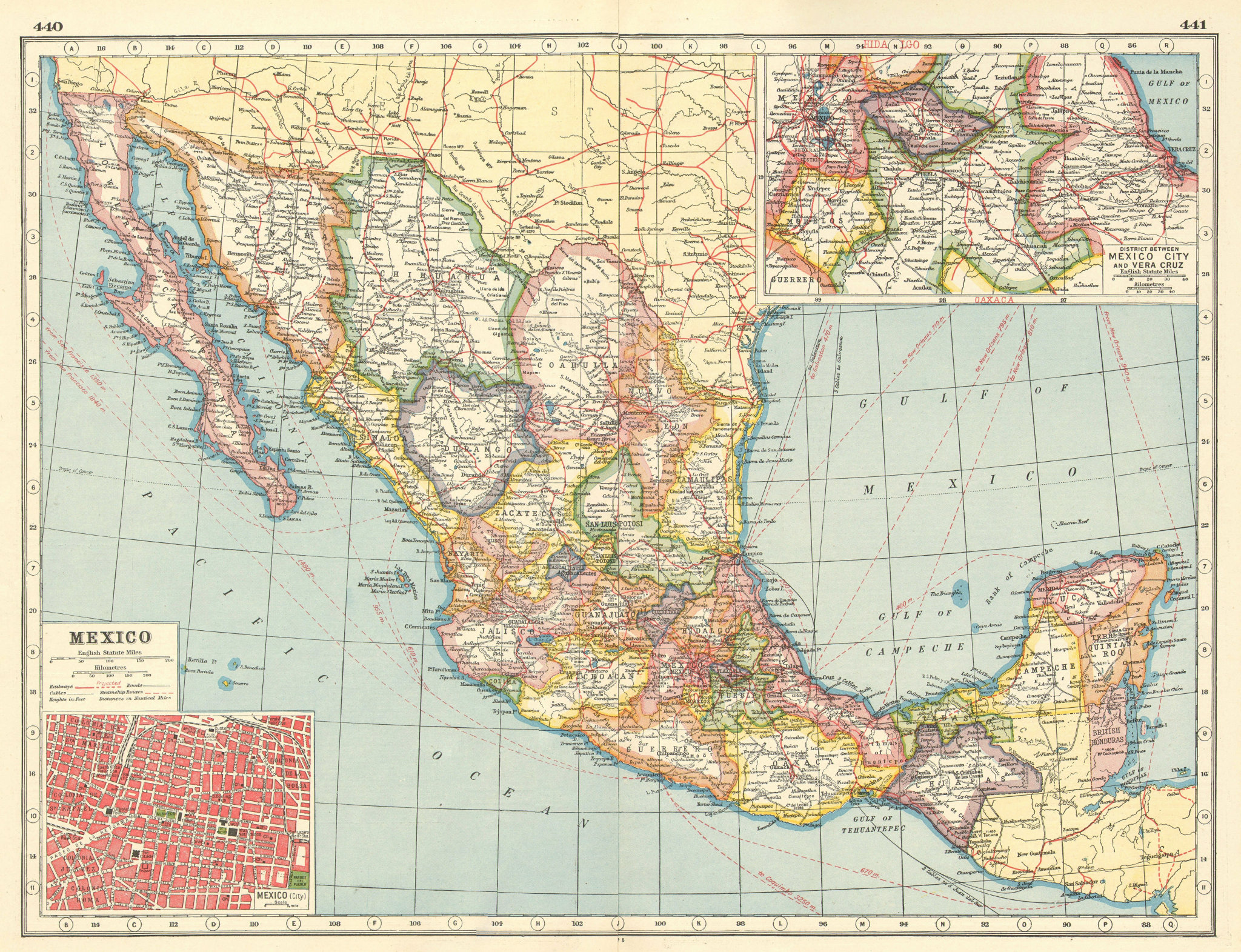 Associate Product MEXICO. Inset Mexico City plan; Mexico City-Veracruz district 1920 old map