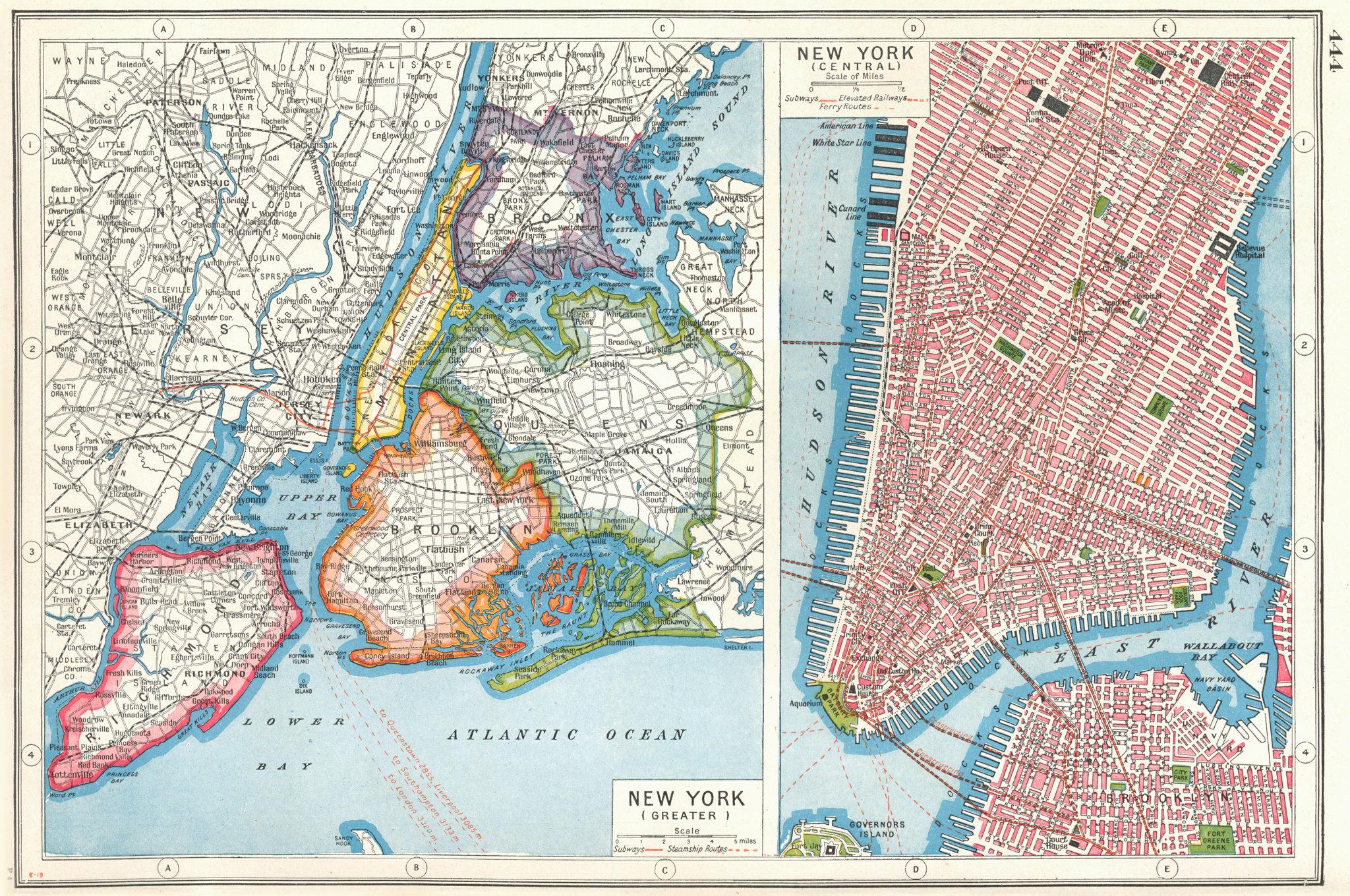 Associate Product NEW YORK CITY. NYC. Lower Manhattan. Queens Bronx Brooklyn Richmond 1920 map