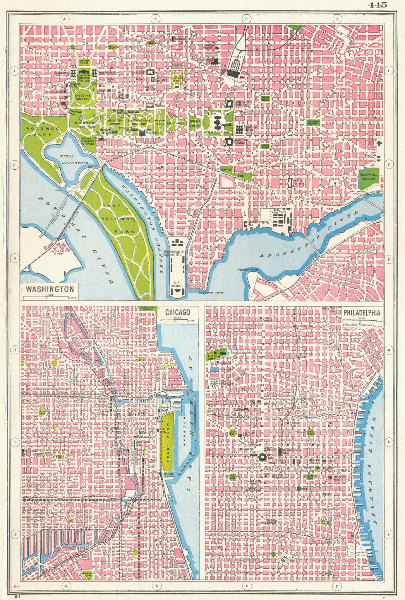 Associate Product USA CITIES. Washington DC Chicago & Philadelphia city plans 1920 old map