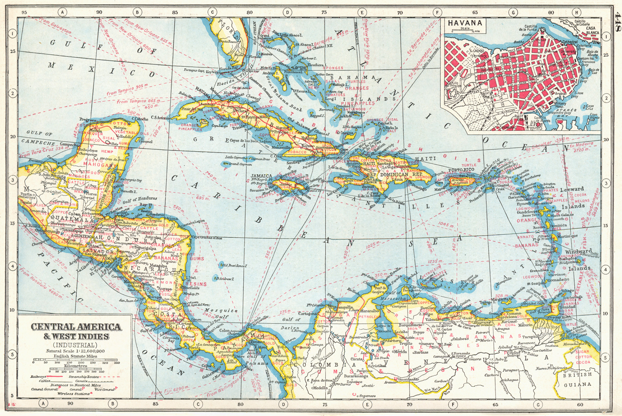 Associate Product CENTRAL AMERICA/WEST INDIES COMMERCIAL. Agricultural products. Havana 1920 map