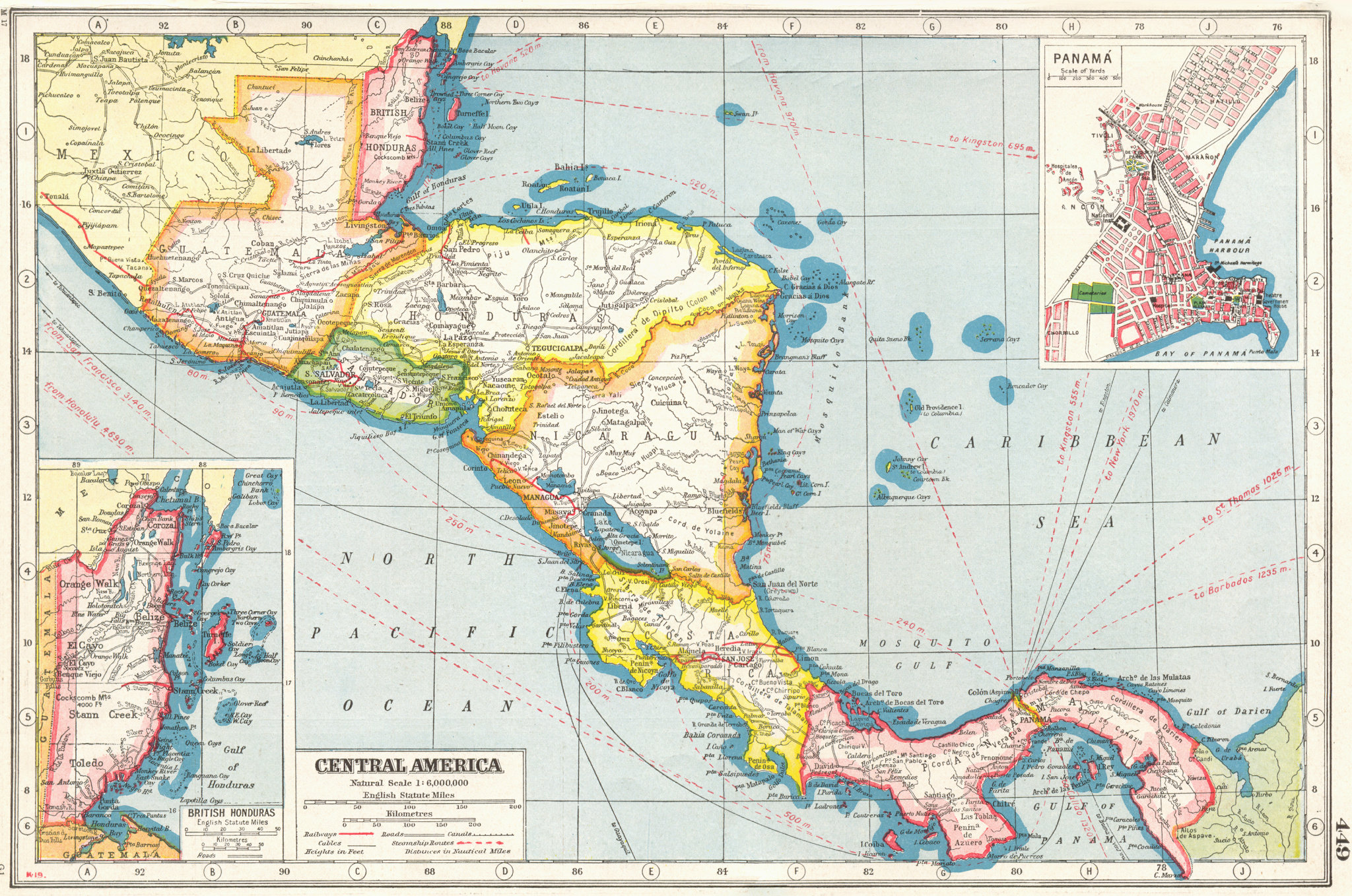 Associate Product CENTRAL AMERICA. Honduras &c Inset British Honduras Belize;Panama City 1920 map