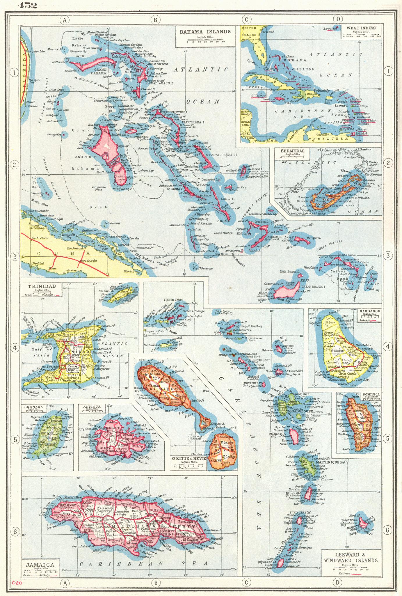 Associate Product BRITISH WEST INDIES.Bahamas Bermuda Trinidad Antigua Jamaica Barbados+ 1920 map
