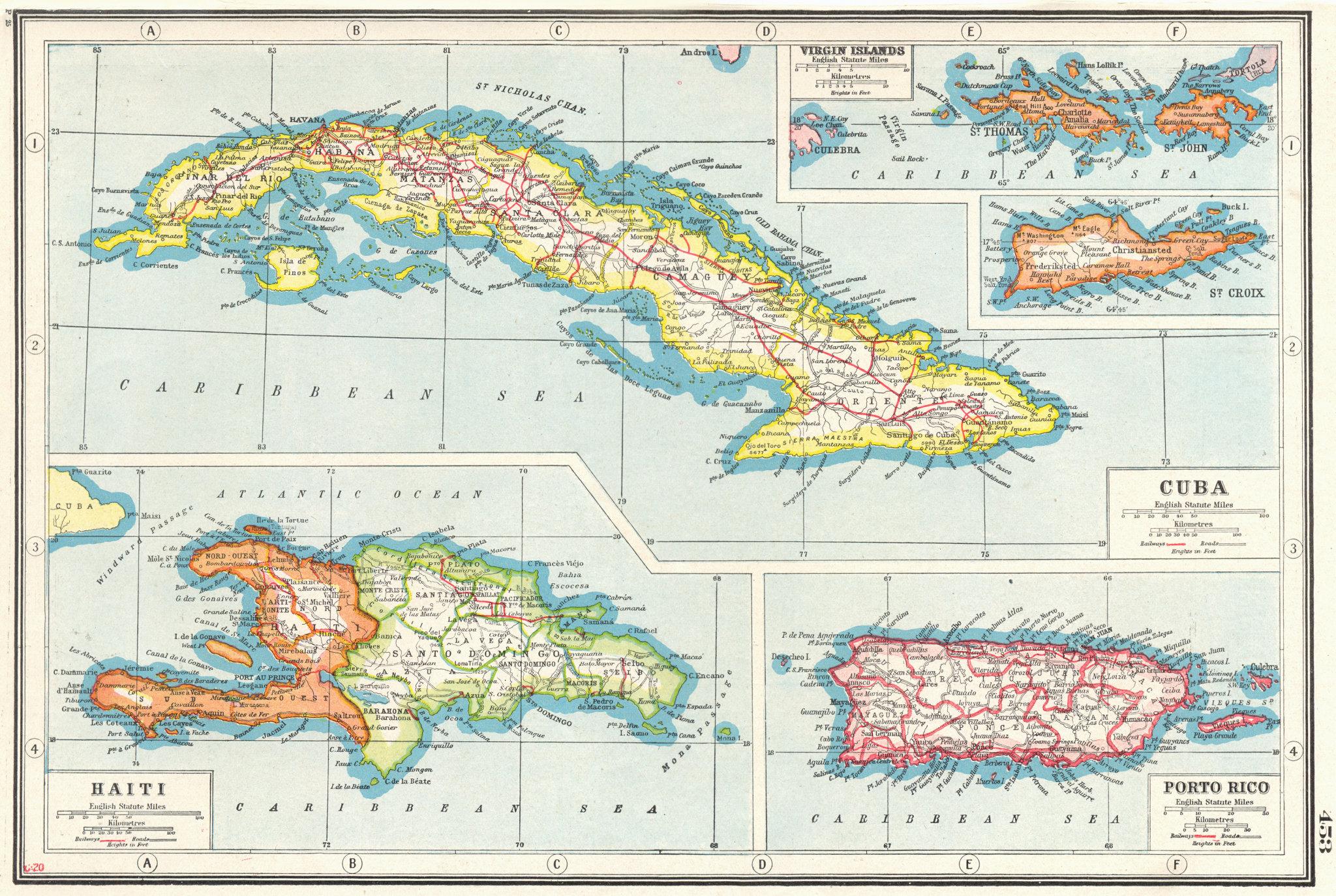 Associate Product WEST INDIES.Cuba Puerto Rico Hispaniola Virgin Islands St Croix Haiti 1920 map