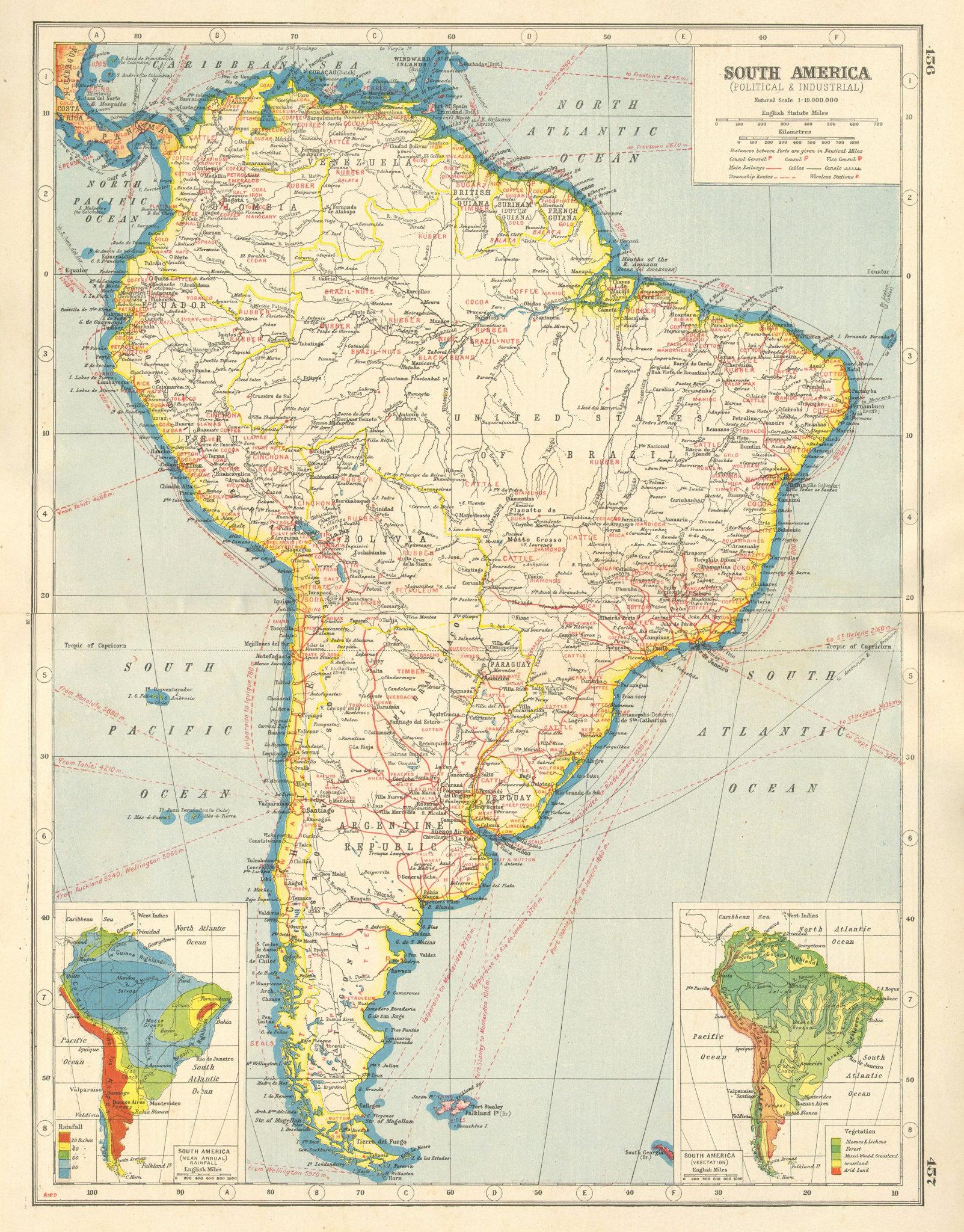 Associate Product SOUTH AMERICA. Political & Industrial; Rainfall Vegetation. HARMSWORTH 1920 map