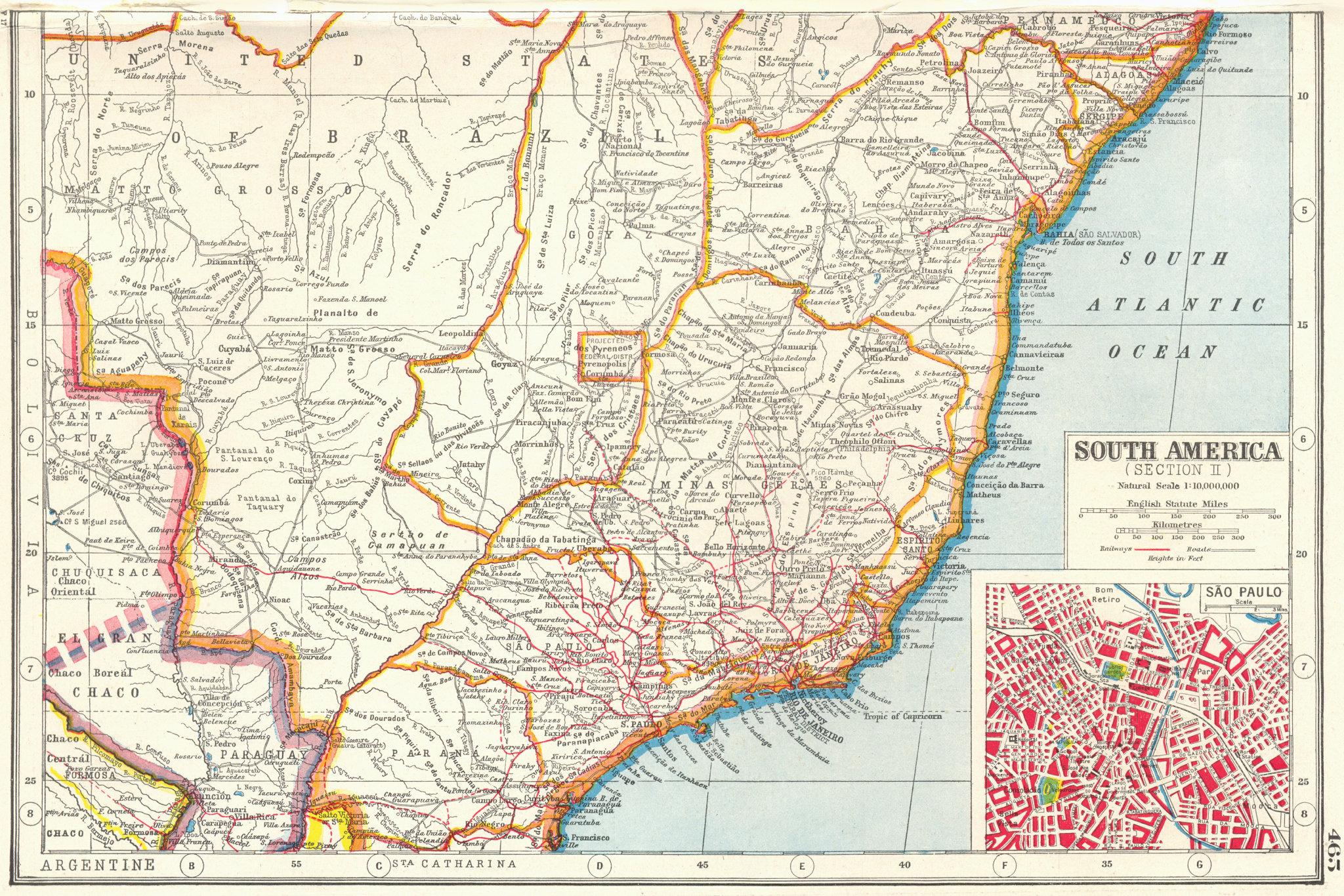 Associate Product BRAZIL SOUTH. Minas Geraes Bahia Parana Espirito Santo.Inset Sao Paulo 1920 map