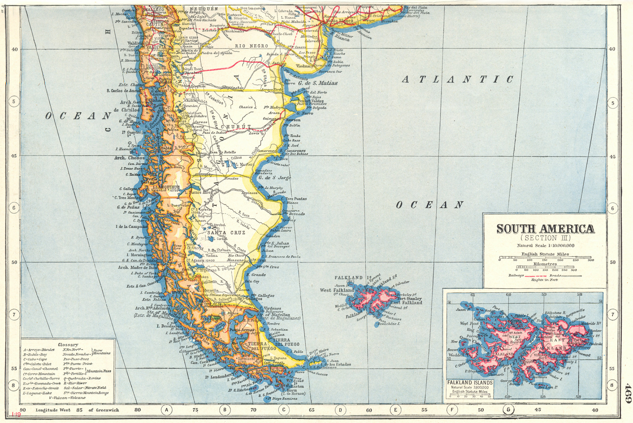 Associate Product PATAGONIA.South America south. Argentina Chile; Falkland Islands 1920 old map