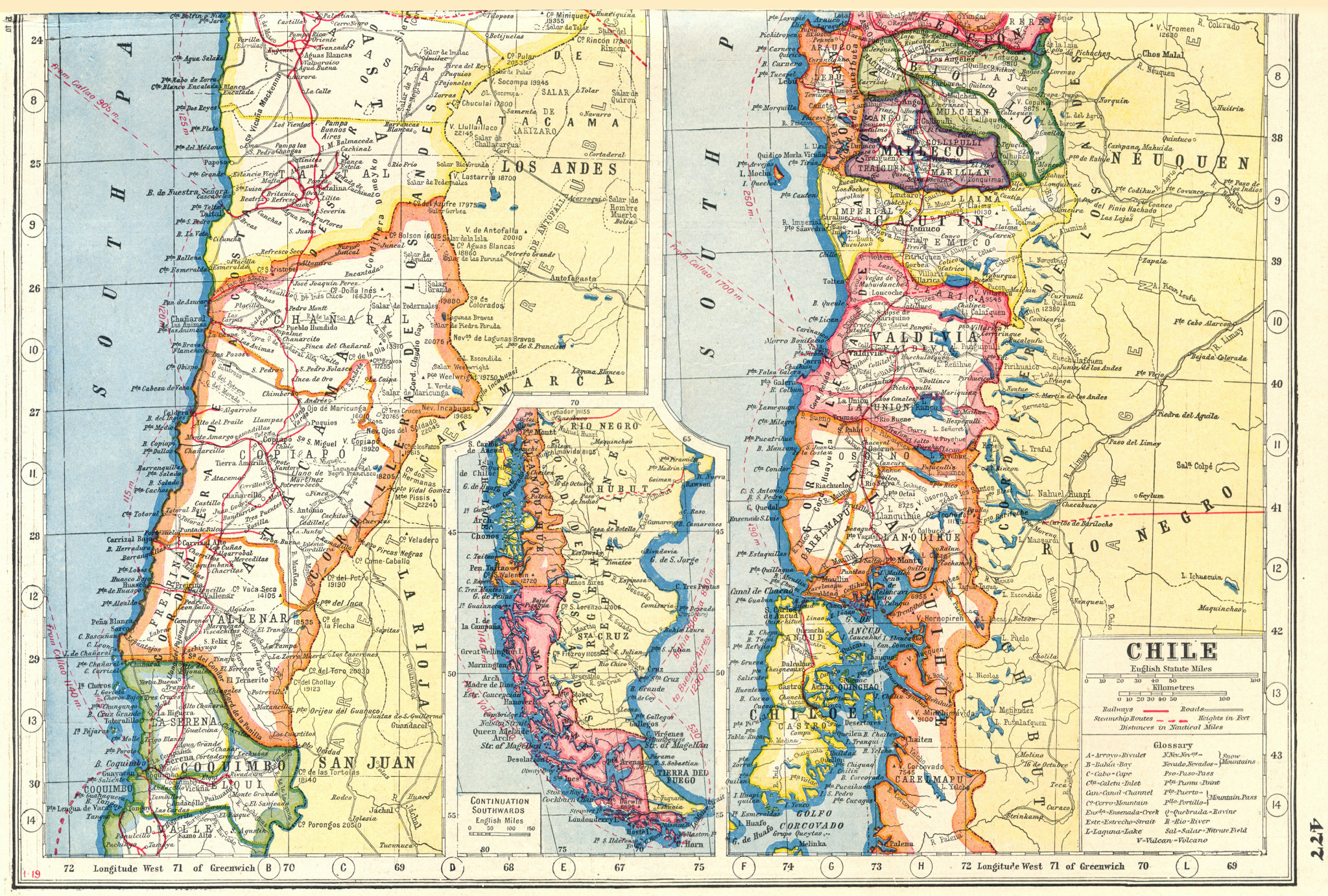 Associate Product CHILE SHEET 2. regions provinces railways roads & steamship routes 1920 map