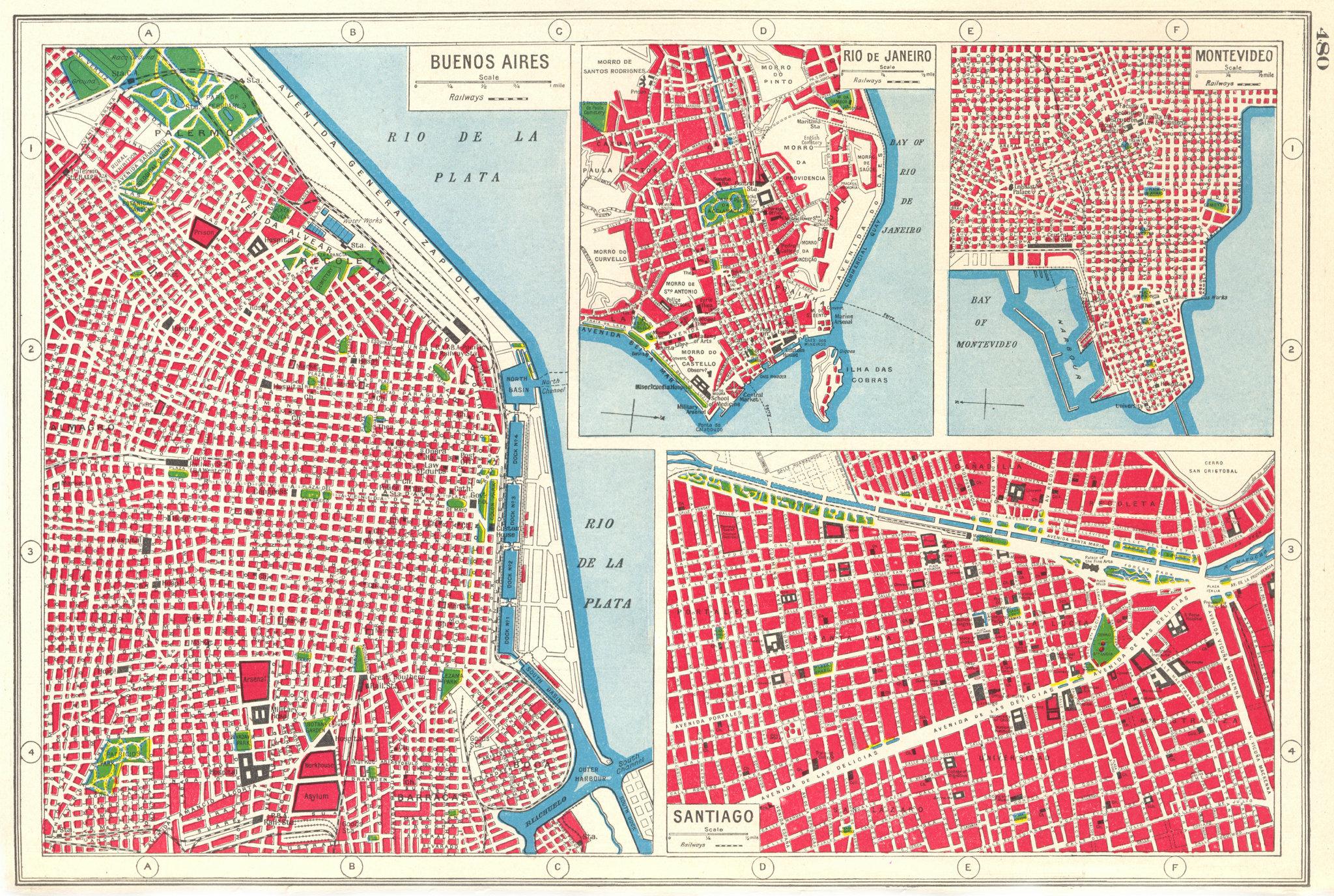 Associate Product SOUTH AMERICAN CITIES. Buenos Aires Rio de Janeiro Montevideo Santiago 1920 map