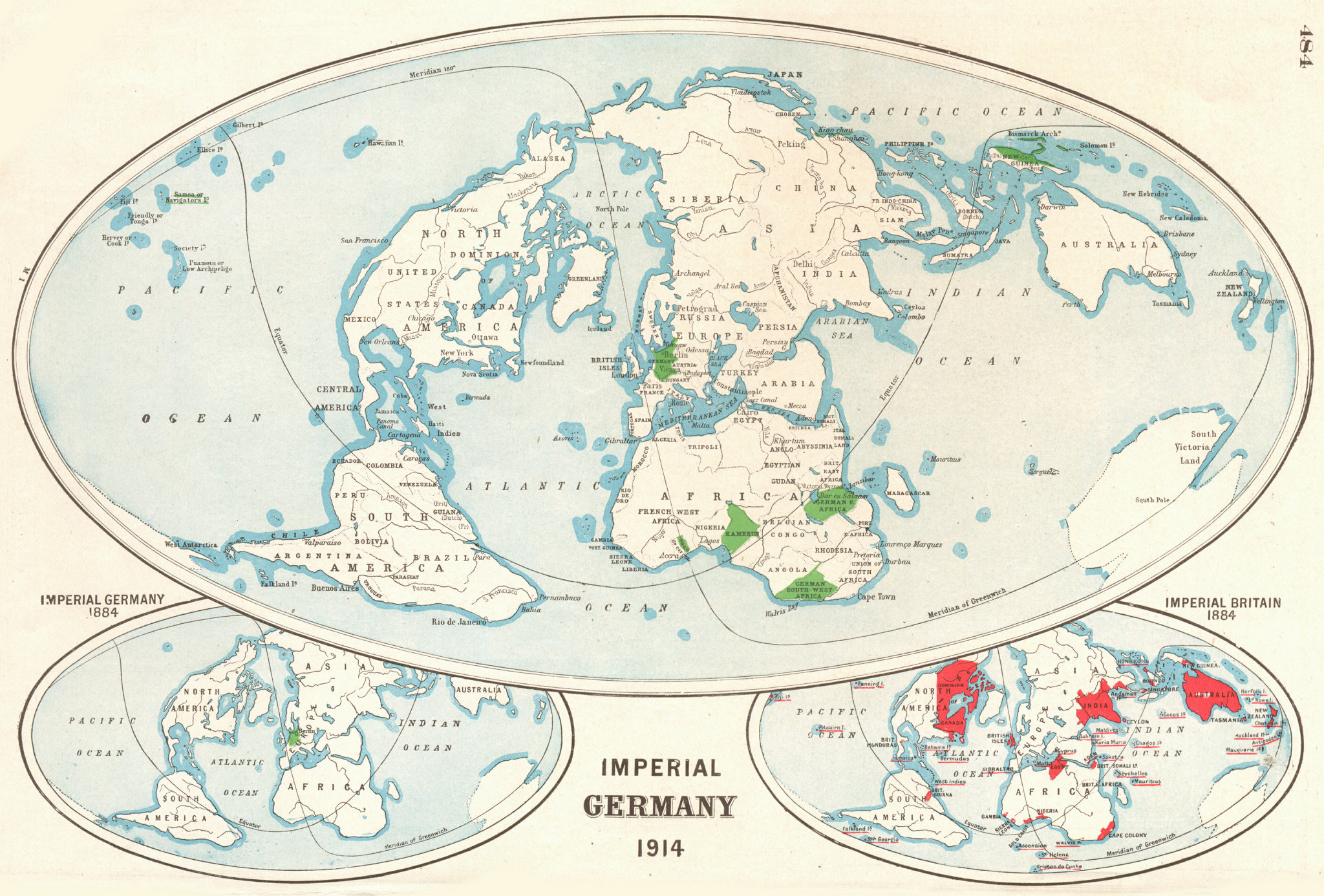 Associate Product GERMAN EMPIRE. Shown in 1884 & 1914. British Empire in 1884. Imperial 1920 map