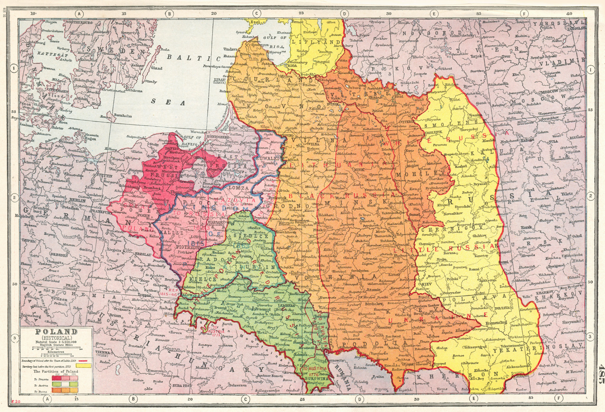 Associate Product POLAND.Showing partition between Prussia Austria Russia 1772-1795 1920 old map
