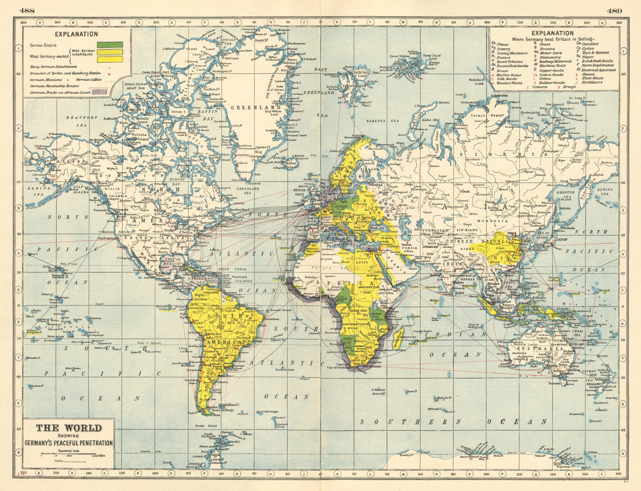 """Associate Product GERMAN COLONIES.showing possessions,ambitions & """"Peaceful Penetration"""" 1920 map"""
