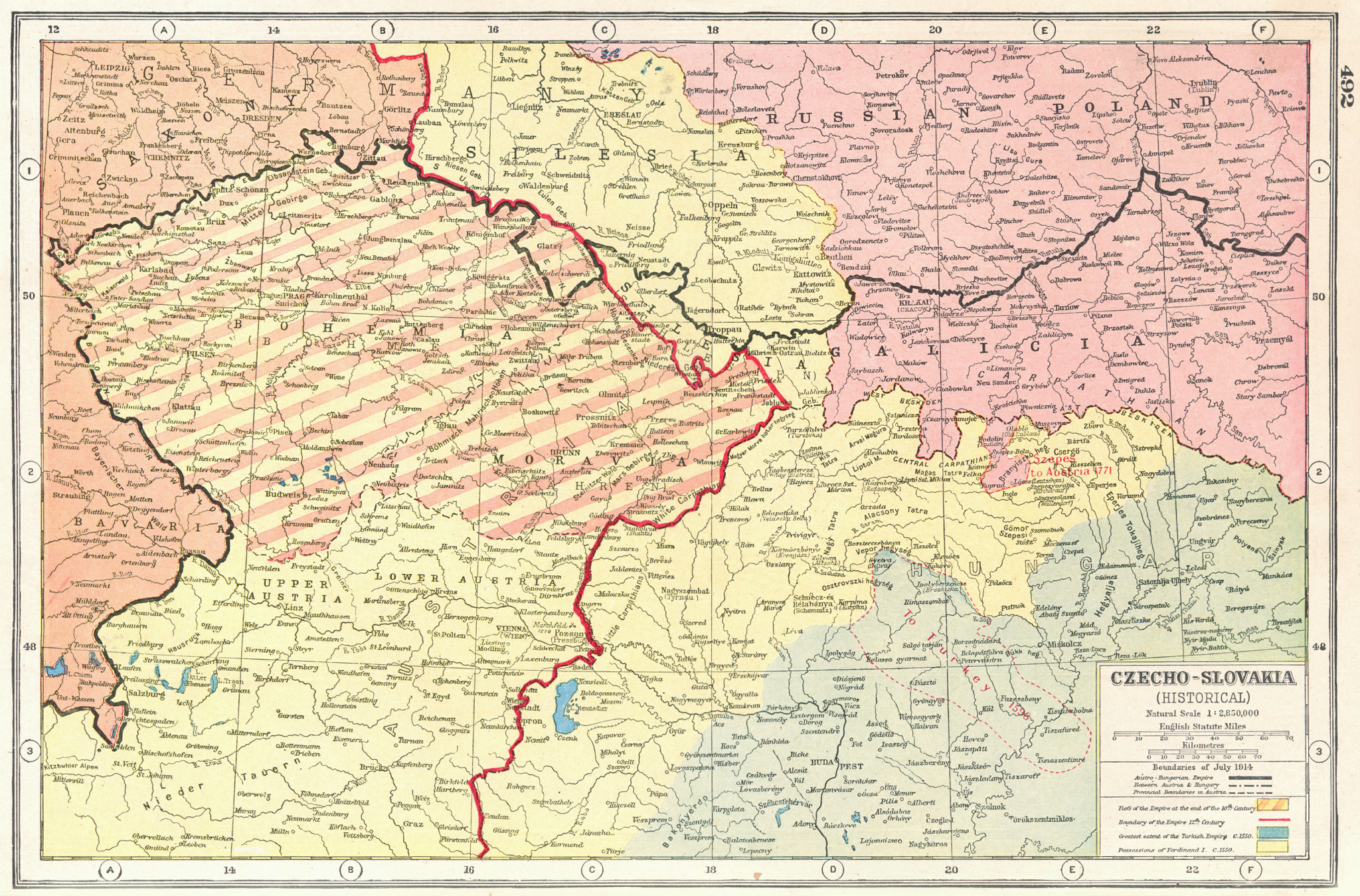 Associate Product CZECHOSLOVAKIA HISTORICAL BORDERS. 1914 10C Ottoman 12C Ferdinand I &c 1920 map