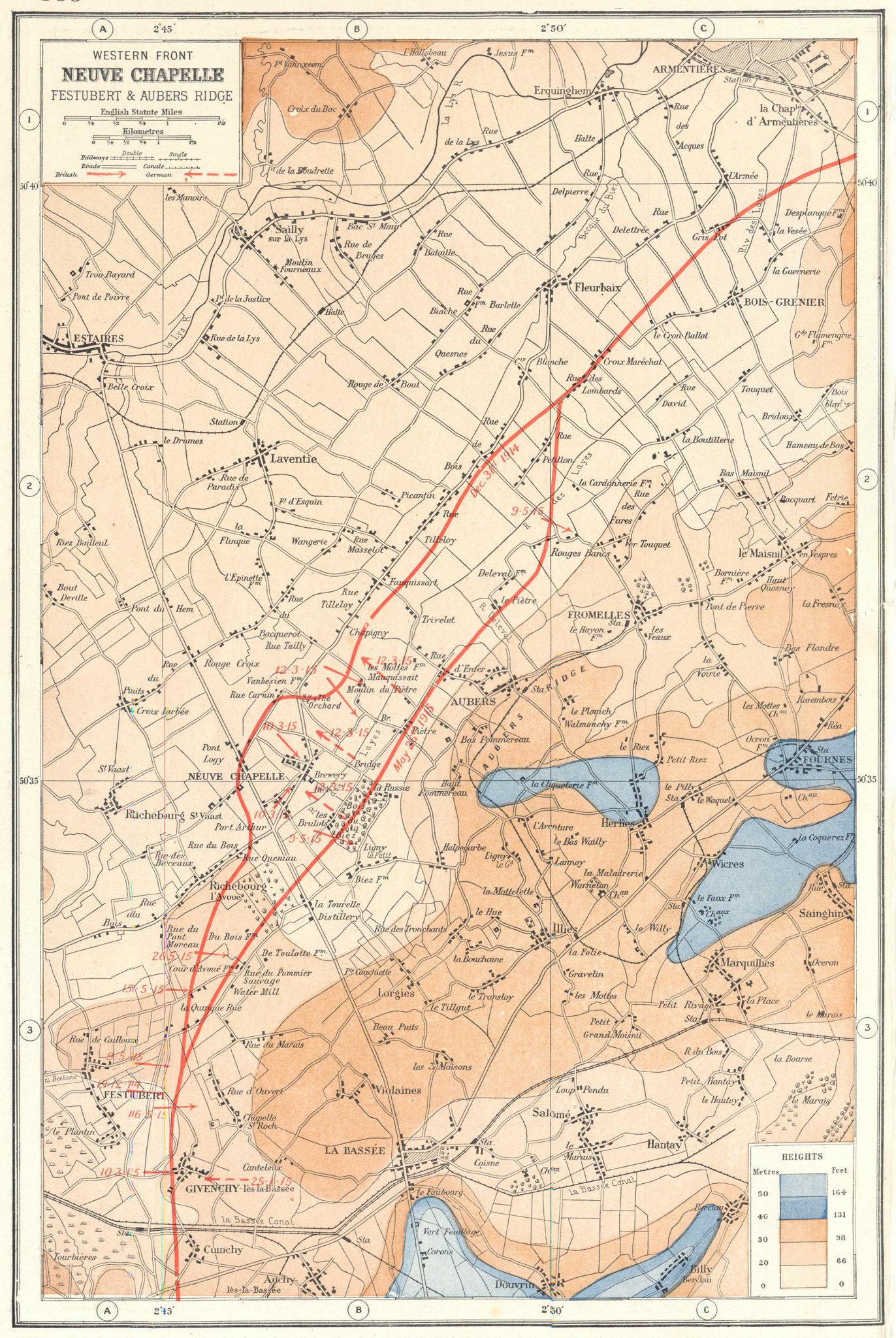 Associate Product WORLD WAR 1.Neuve Chapelle Festubert Aubers Ridge. 1915 battle lines 1920 map