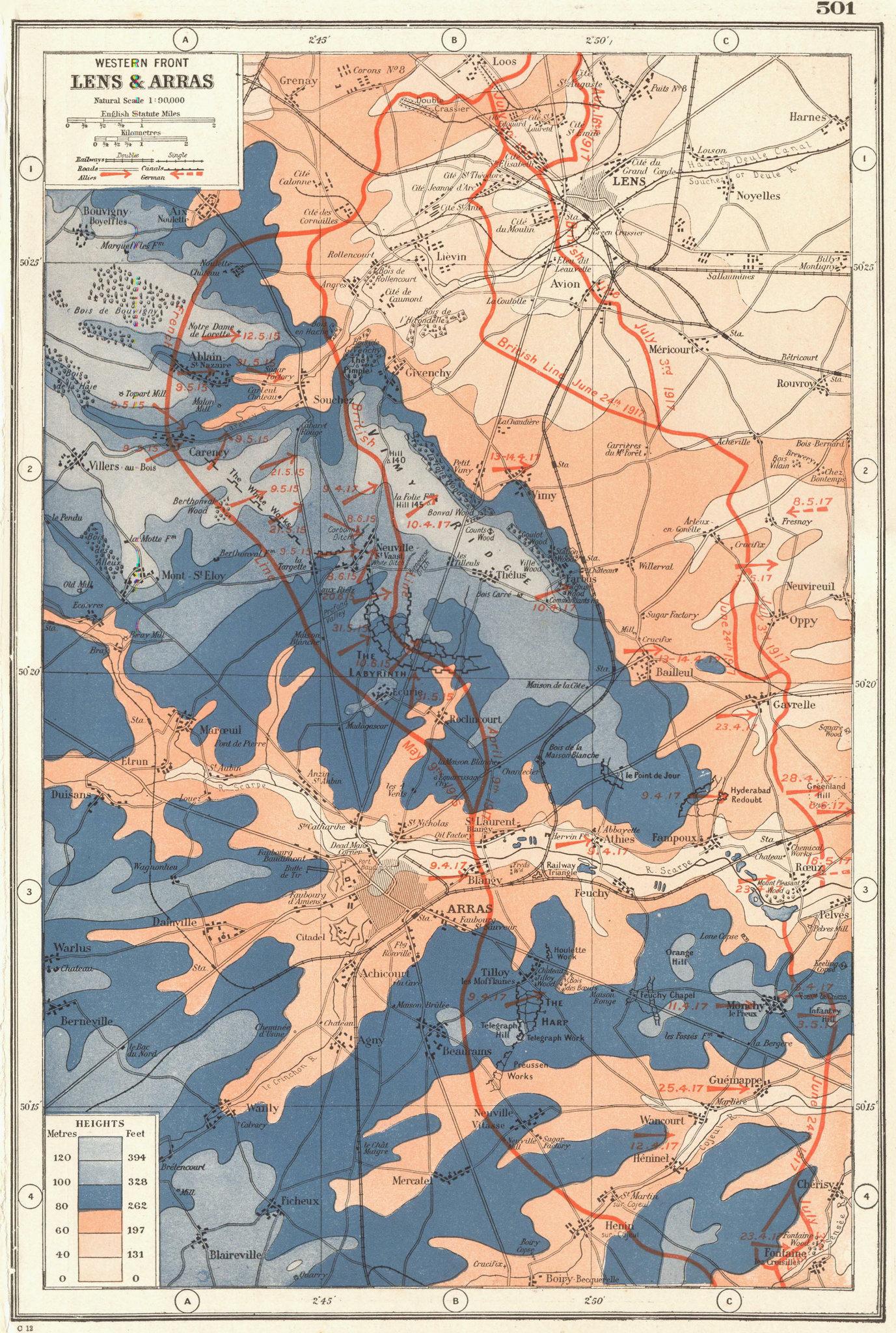 Associate Product FIRST WORLD WAR WESTERN FRONT. Lens & Arras. 1915-17 battle lines. WW1 1920 map