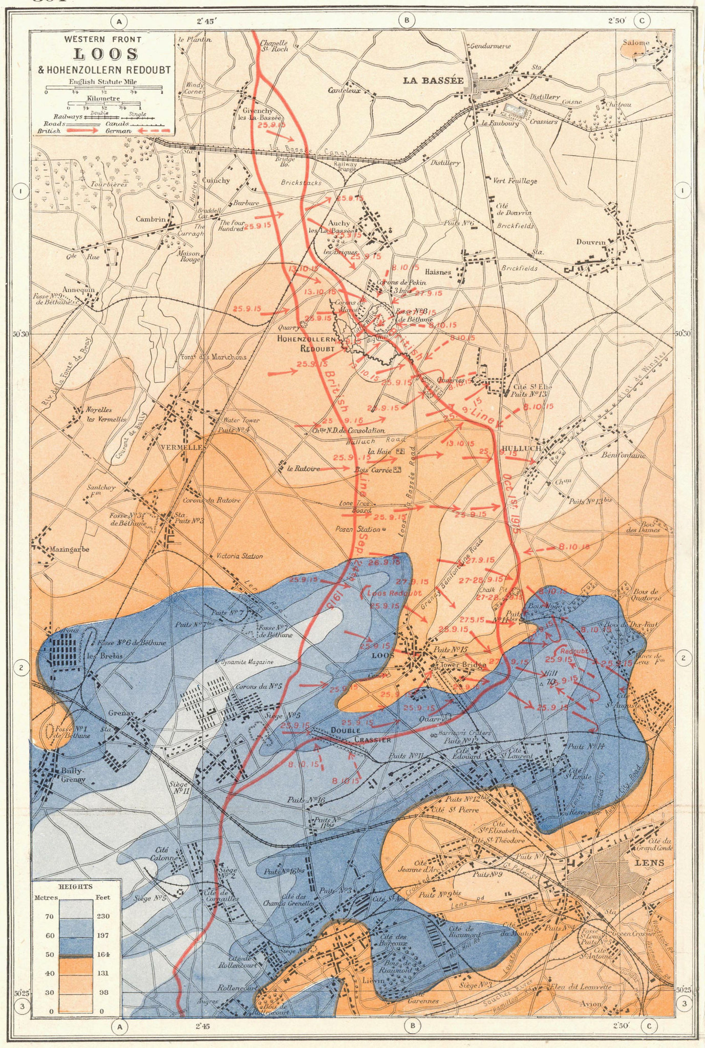 Associate Product WORLD WAR 1.Western Front Loos Hohenzollern Redoubt 1915 battle lines 1920 map