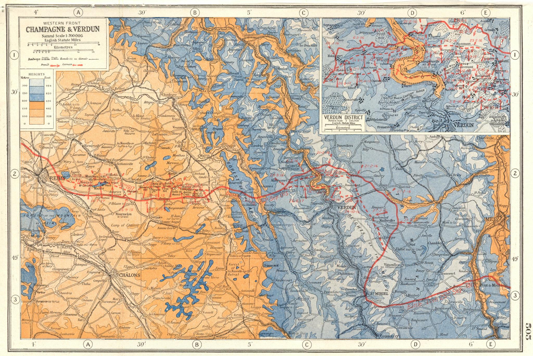 Associate Product WORLD WAR 1.Western Front Champagne Verdun. 1916-17 battle lines 1920 old map