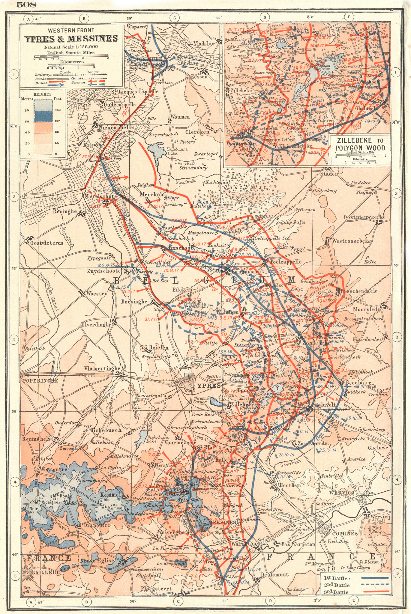 Associate Product WESTERN FRONT.Ypres Messines;Zillebeke-Polygon Wood. 1917 battle lines 1920 map