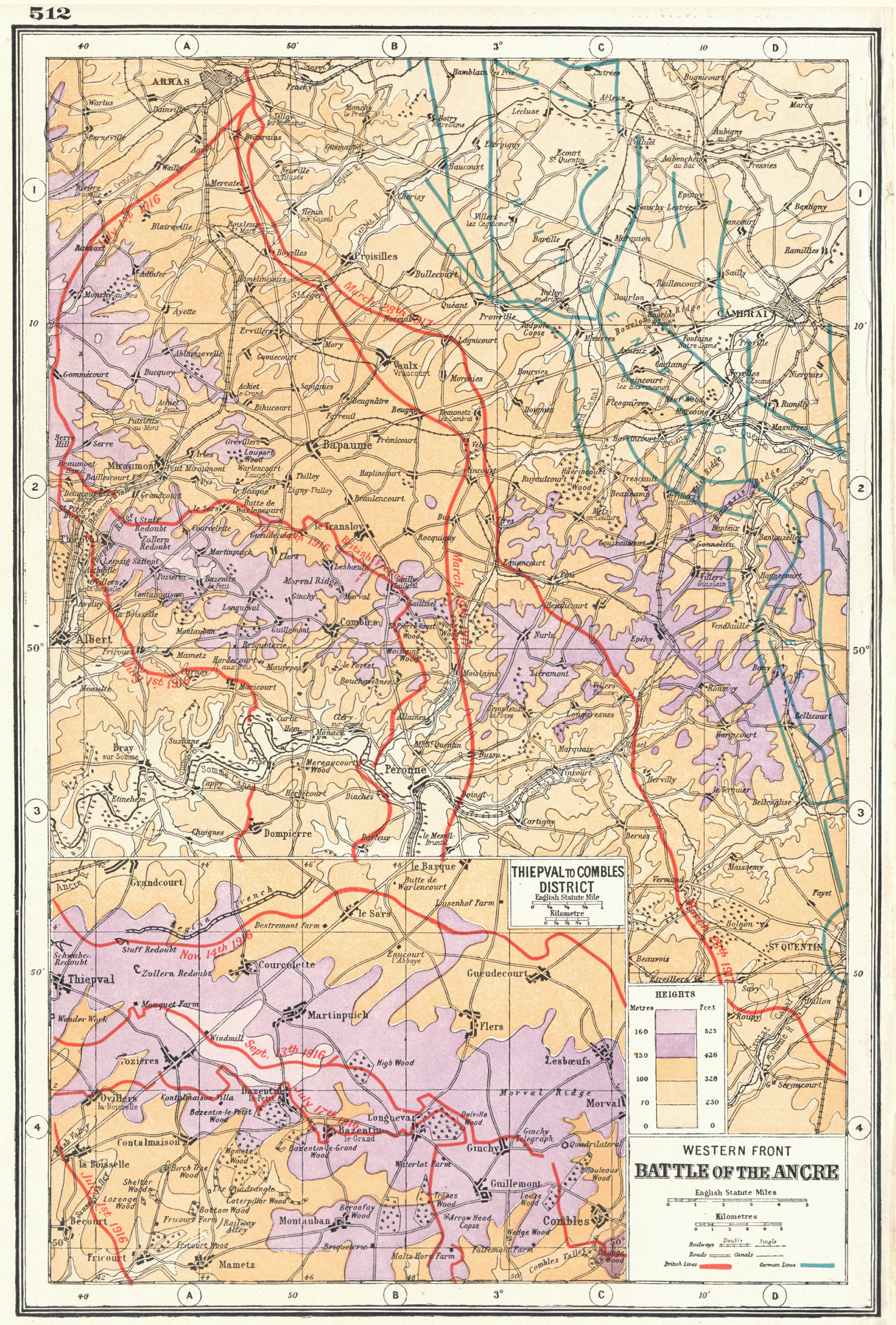 Associate Product WW1.Western Front battle lines. Ancre;Thiepval to Combles. 1916-17 1920 map