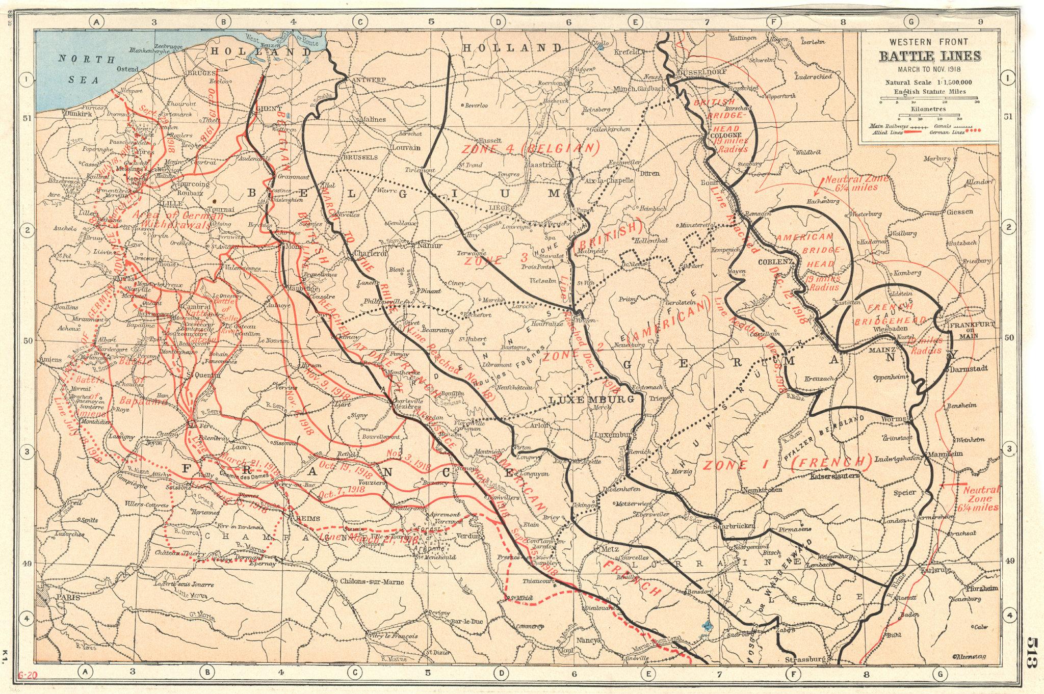 Associate Product WORLD WAR 1.Western Front Battle lines March-Nov 1918. Belgium France 1920 map