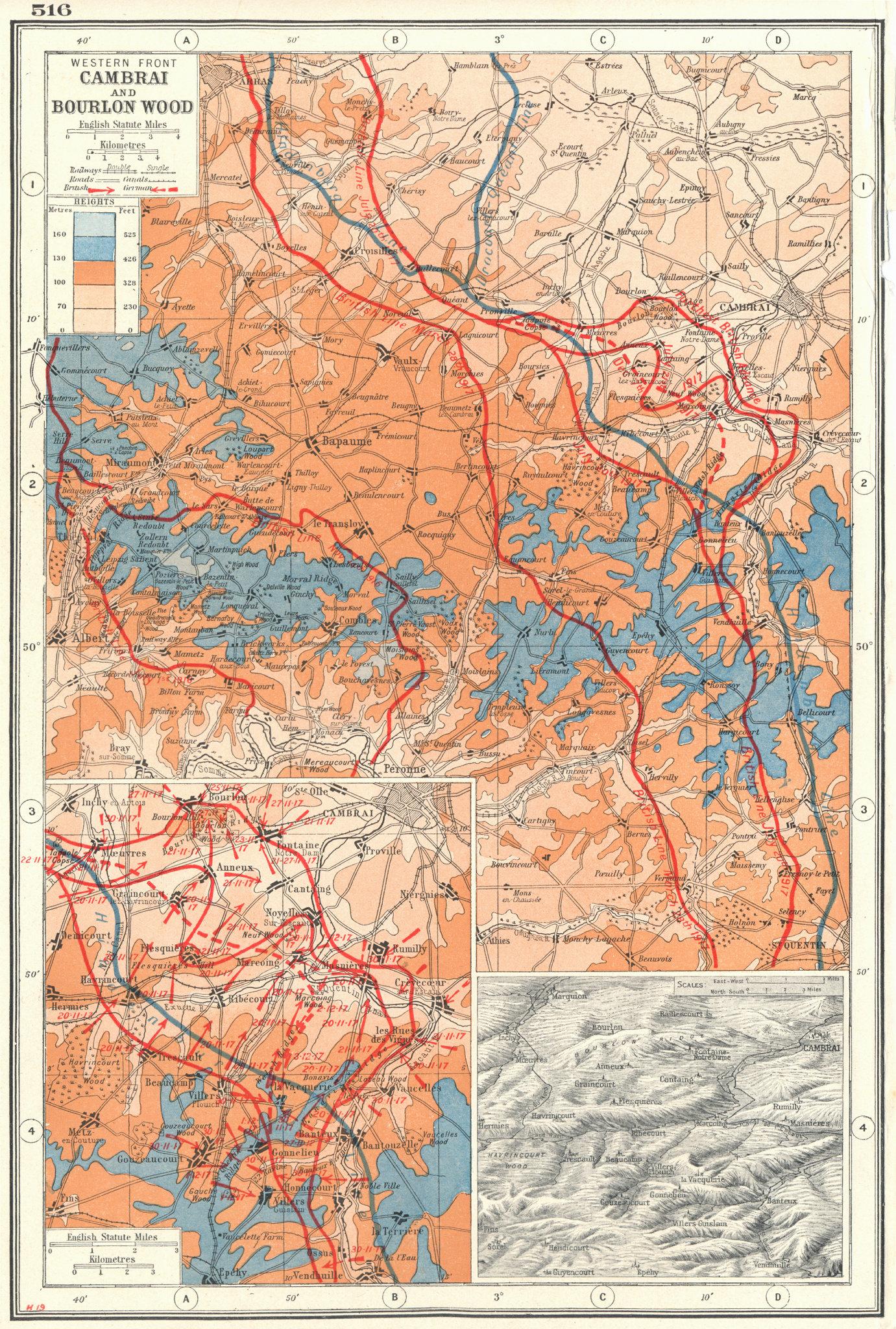 Associate Product WORLD WAR 1.Western Front Cambrai & Bourlon wood battle lines 1916-17 1920 map