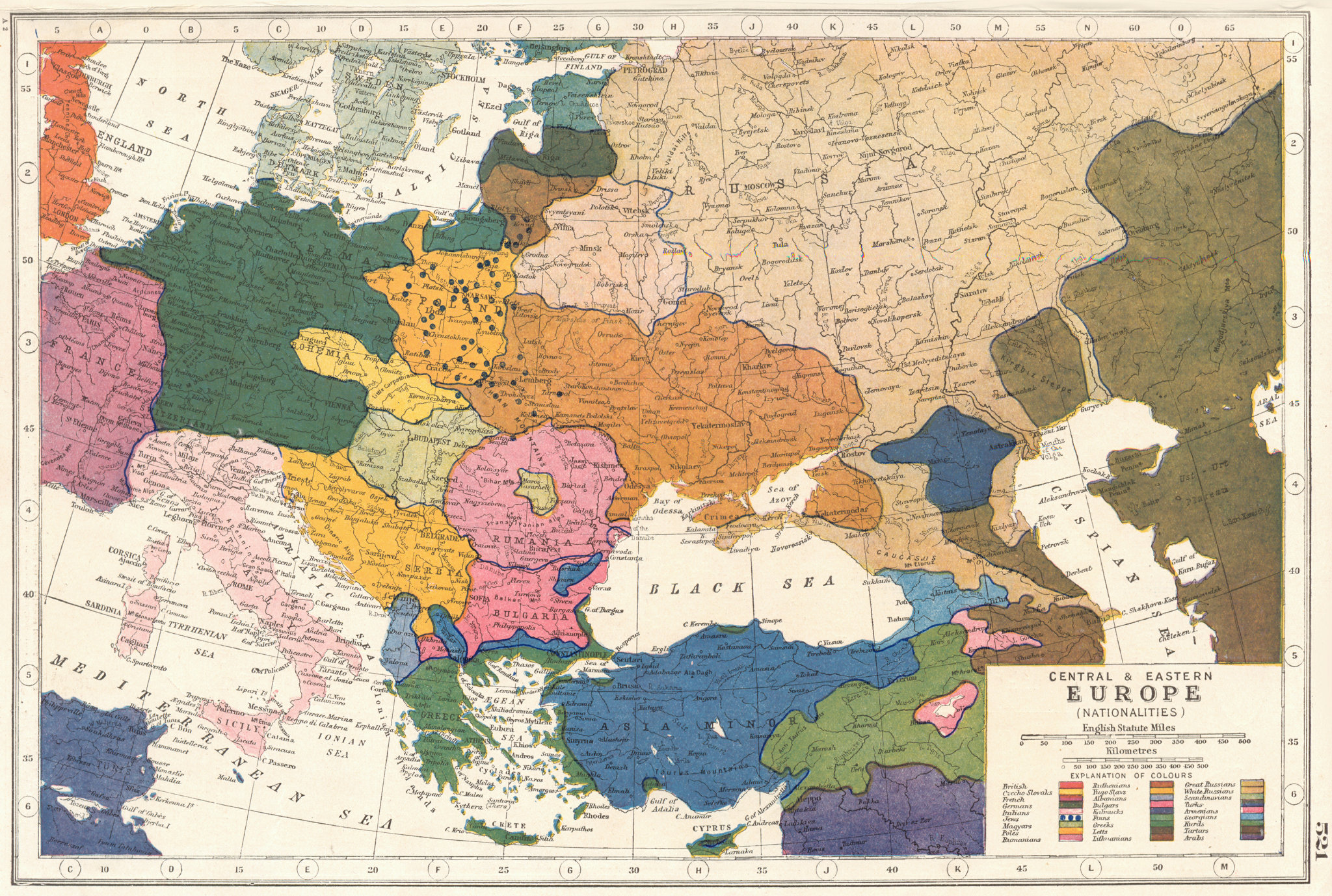 Associate Product EUROPE.Central & Eastern Europe (Nationalities). HARMSWORTH 1920 old map