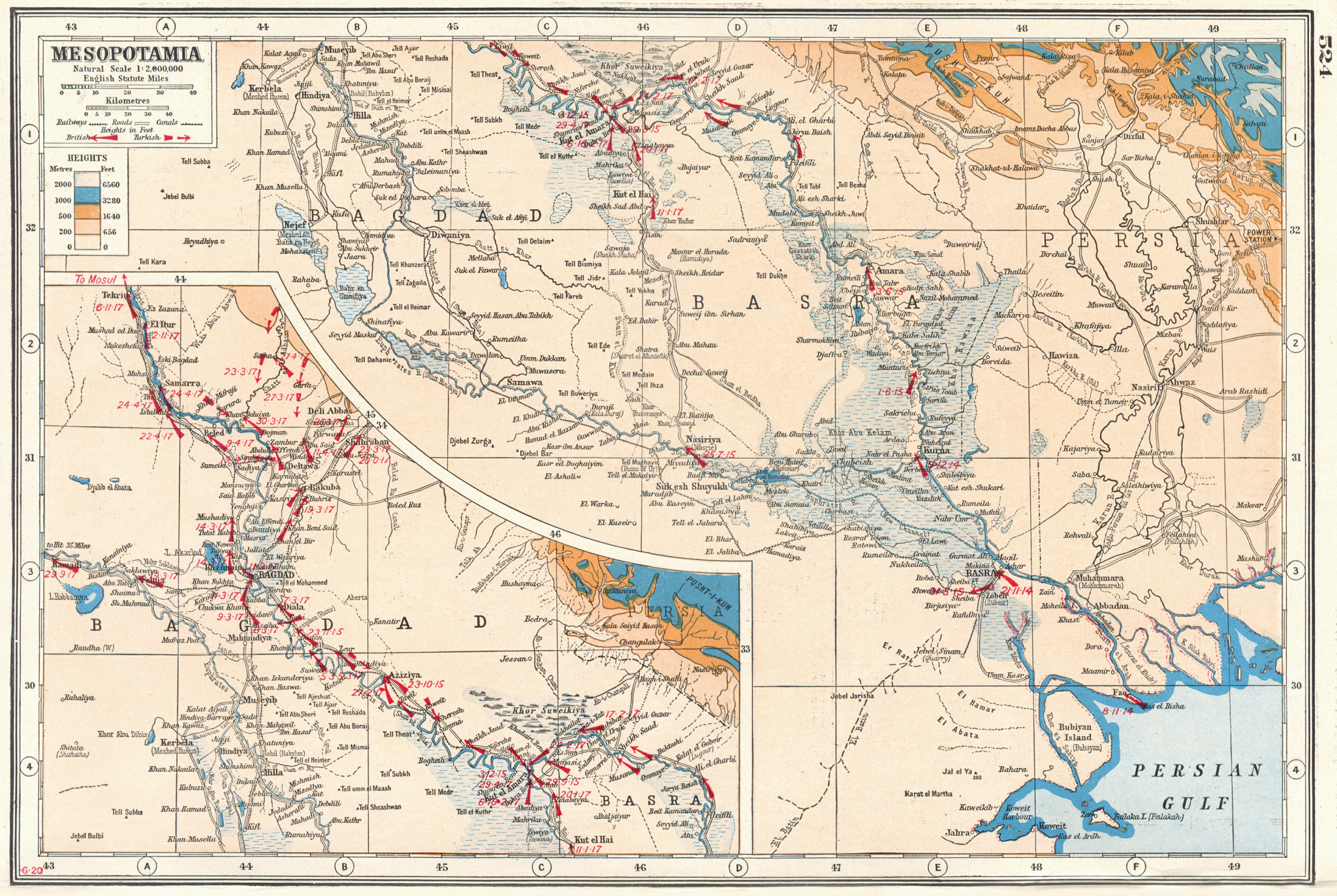 Associate Product IRAQ.Mesopotamia;Inset Baghdad. First World War 1 battle lines 1915-17 1920 map