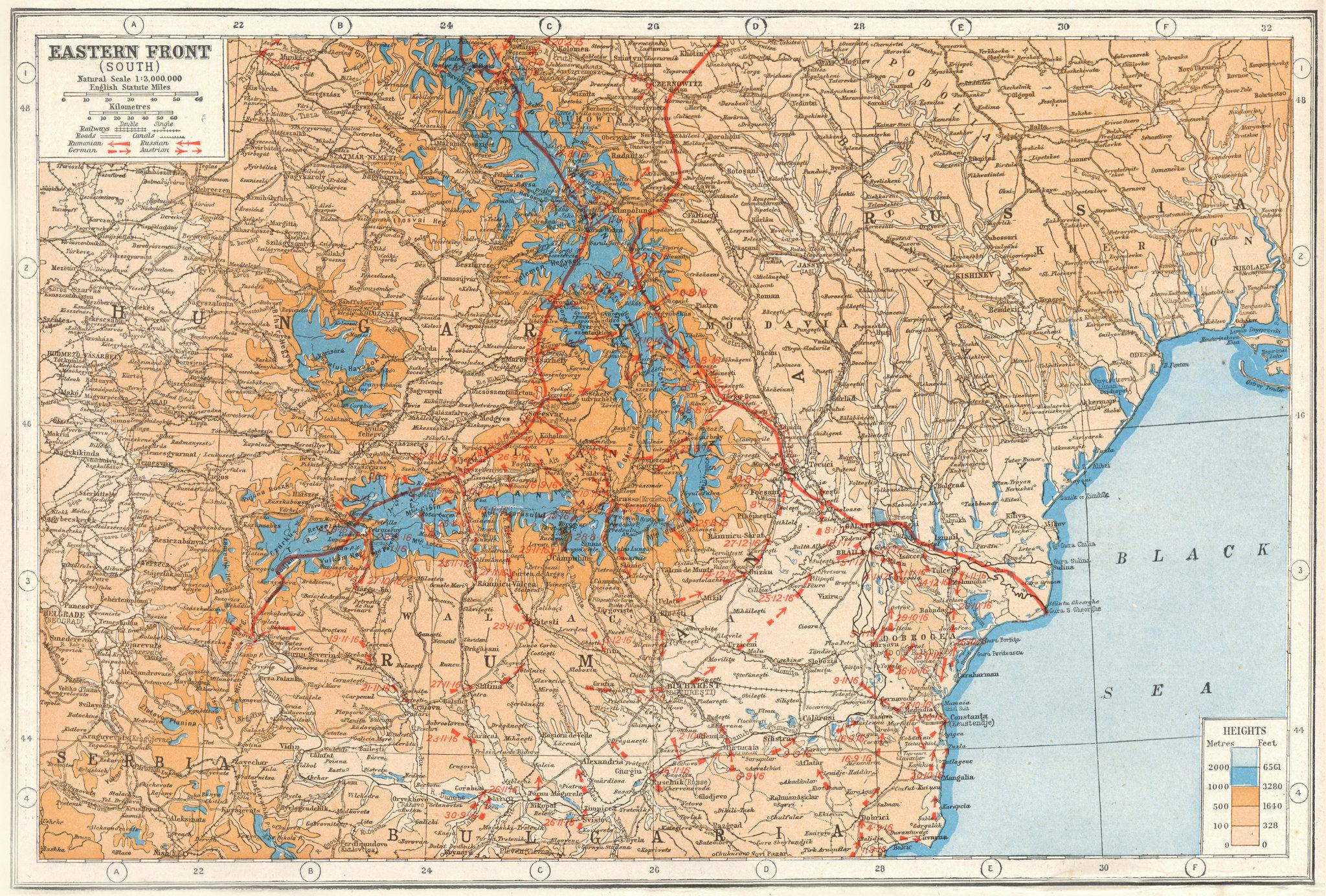 Associate Product WW1  EASTERN FRONT.Romania Hungary Ukraine Moldova battle lines 1916 1920 map