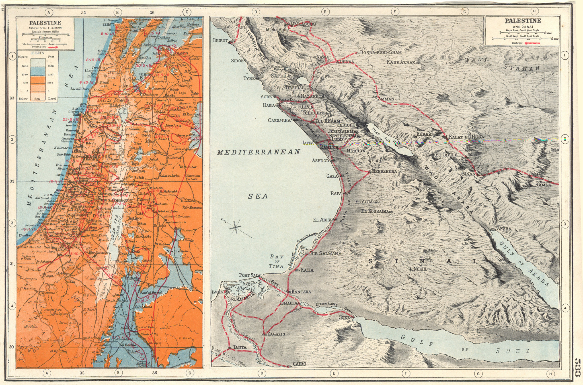 Associate Product ISRAEL.Palestine Sinai. First World War 1 battle lines 1916-18 1920 old map