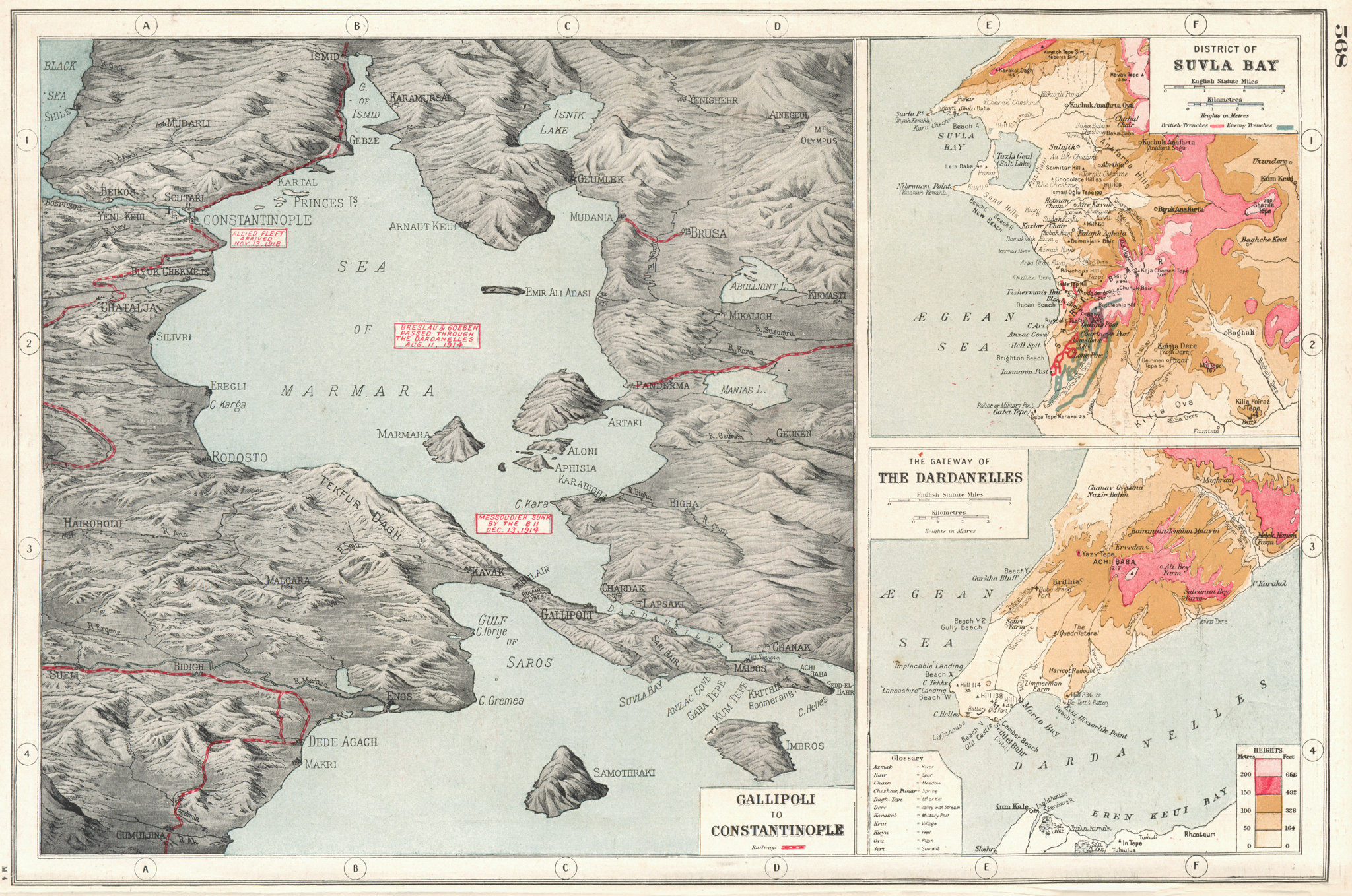 Associate Product TURKEY. World War 1. Gallipoli to Istanbul;Suvla Bay; Dardanelles 1920 old map