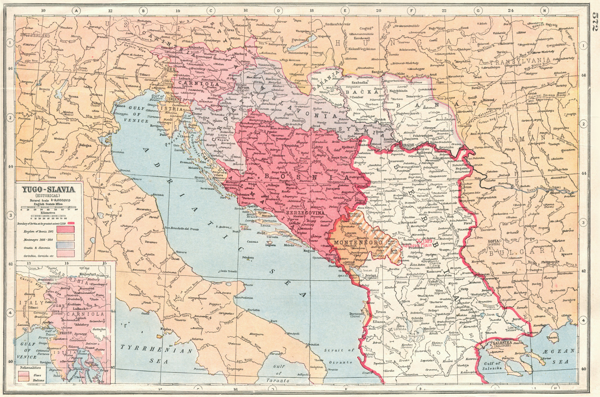 Associate Product BALKANS.Yugoslavia Historical; Bosnia Serbia Montenegro; nationalities 1920 map