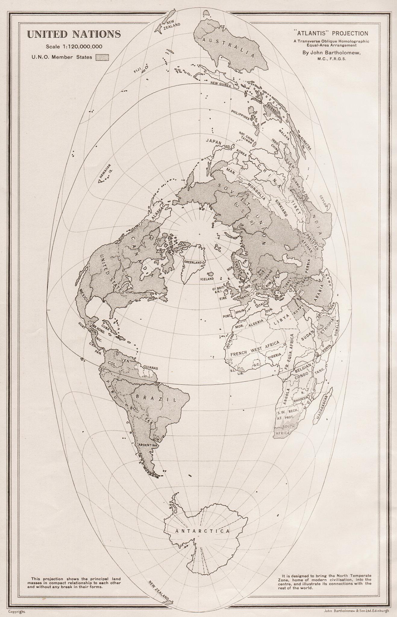 Associate Product WORLD (ATLANTIS PROJECTION) . United Nations member states. BARTHOLOMEW 1952 map