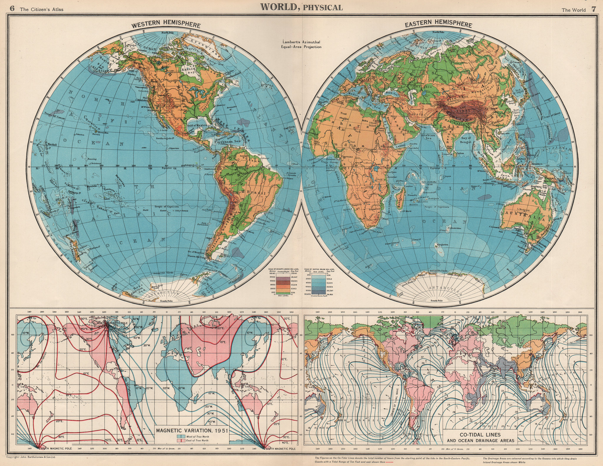 Associate Product WORLD MAGNETIC VARIATION & COTIDAL LINES. Physical. Ocean Drainage.  1952 map