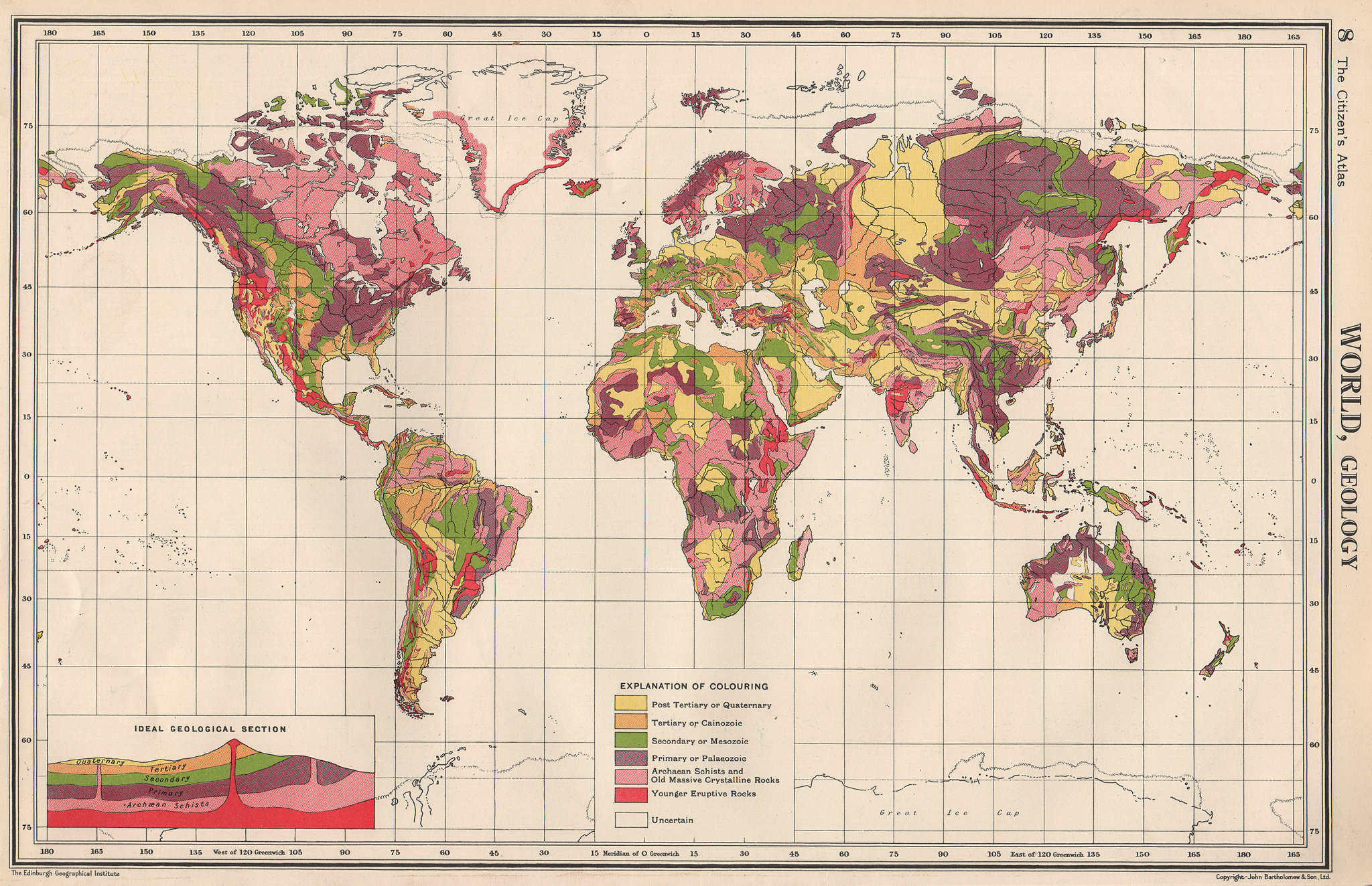 Associate Product WORLD GEOLOGICAL. Geology. Primary Secondary Tertiary. BARTHOLOMEW 1952 map