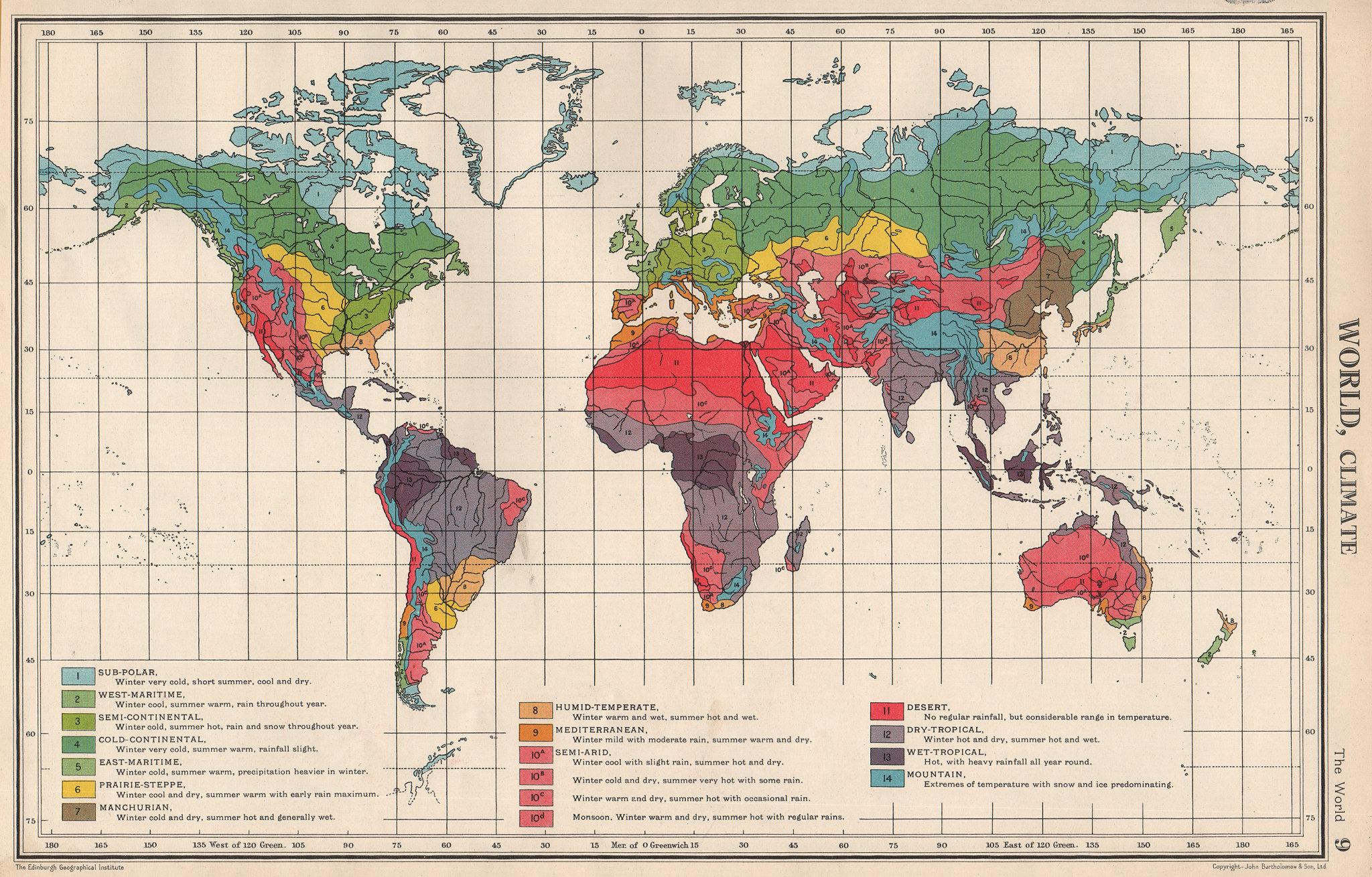 Associate Product WORLD CLIMATE. maritime continental desert tropical &c. BARTHOLOMEW 1952 map