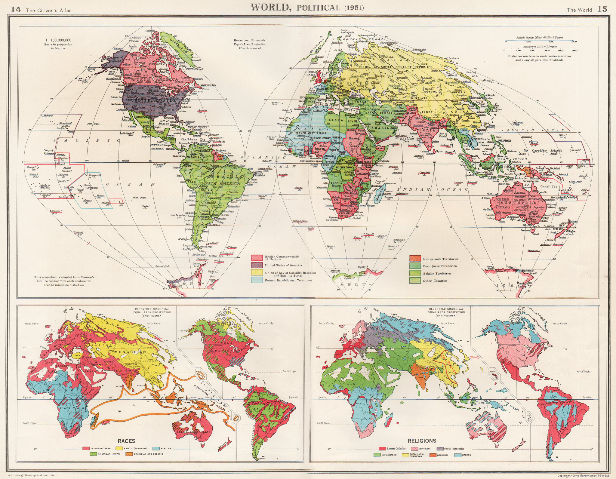 Associate Product WORLD. Political post WW2 colonial. Races & Religions. BARTHOLOMEW 1952 map