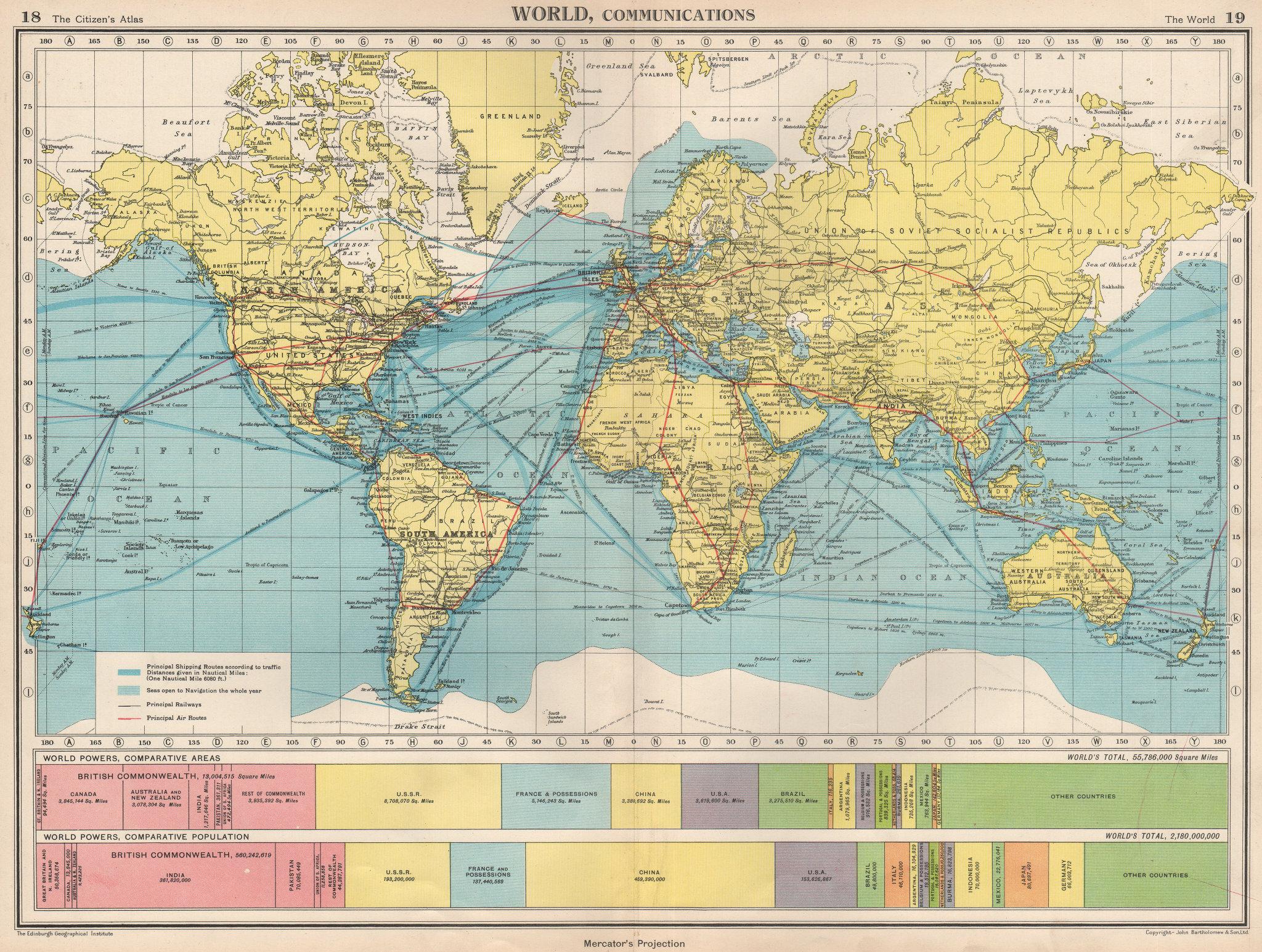 WORLD COMMUNICATIONS. air/shipping routes railways. BARTHOLOMEW 1952 old map