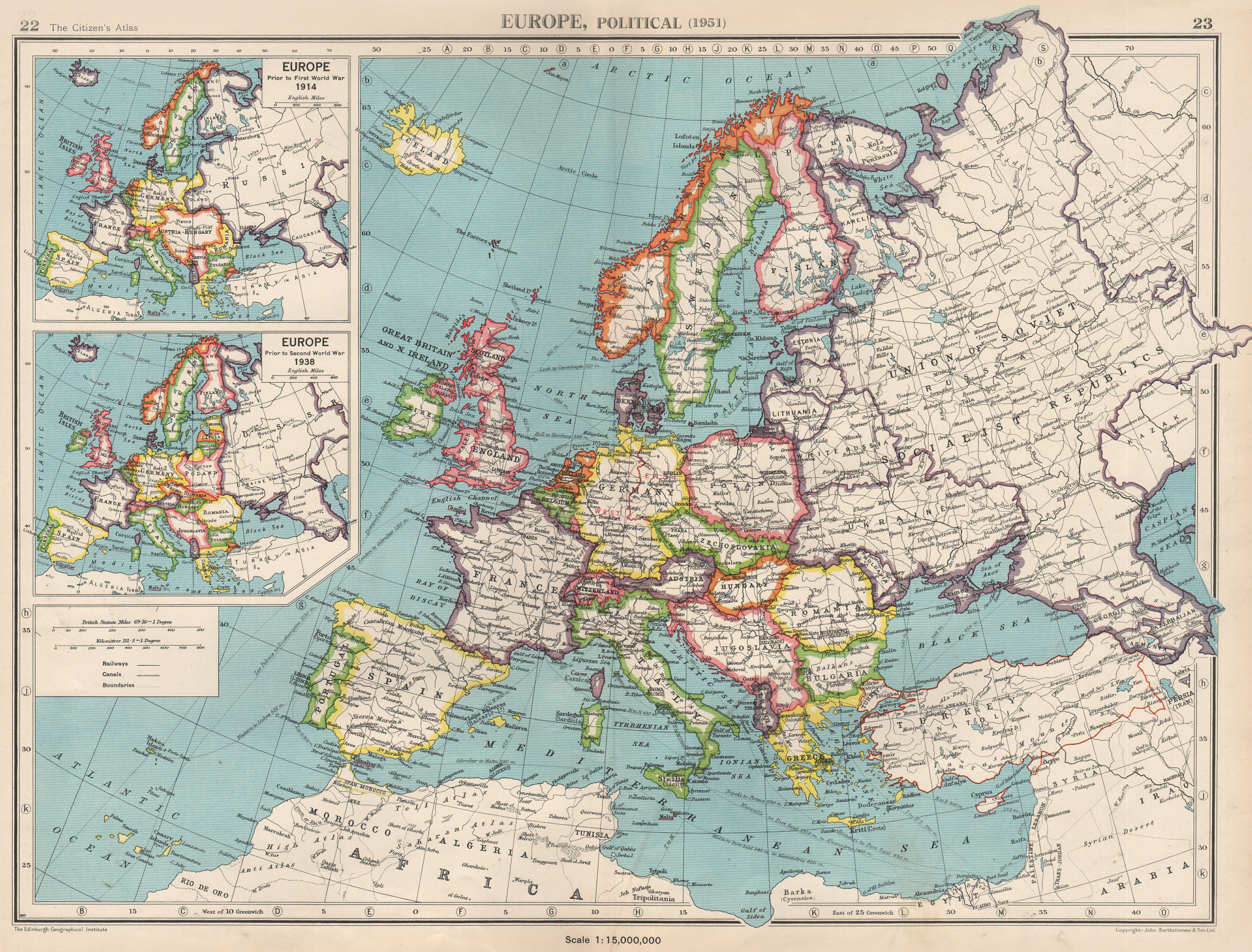 Associate Product EUROPE in 1951. & inset in 1914 & 1938. Germany divided. BARTHOLOMEW 1952 map