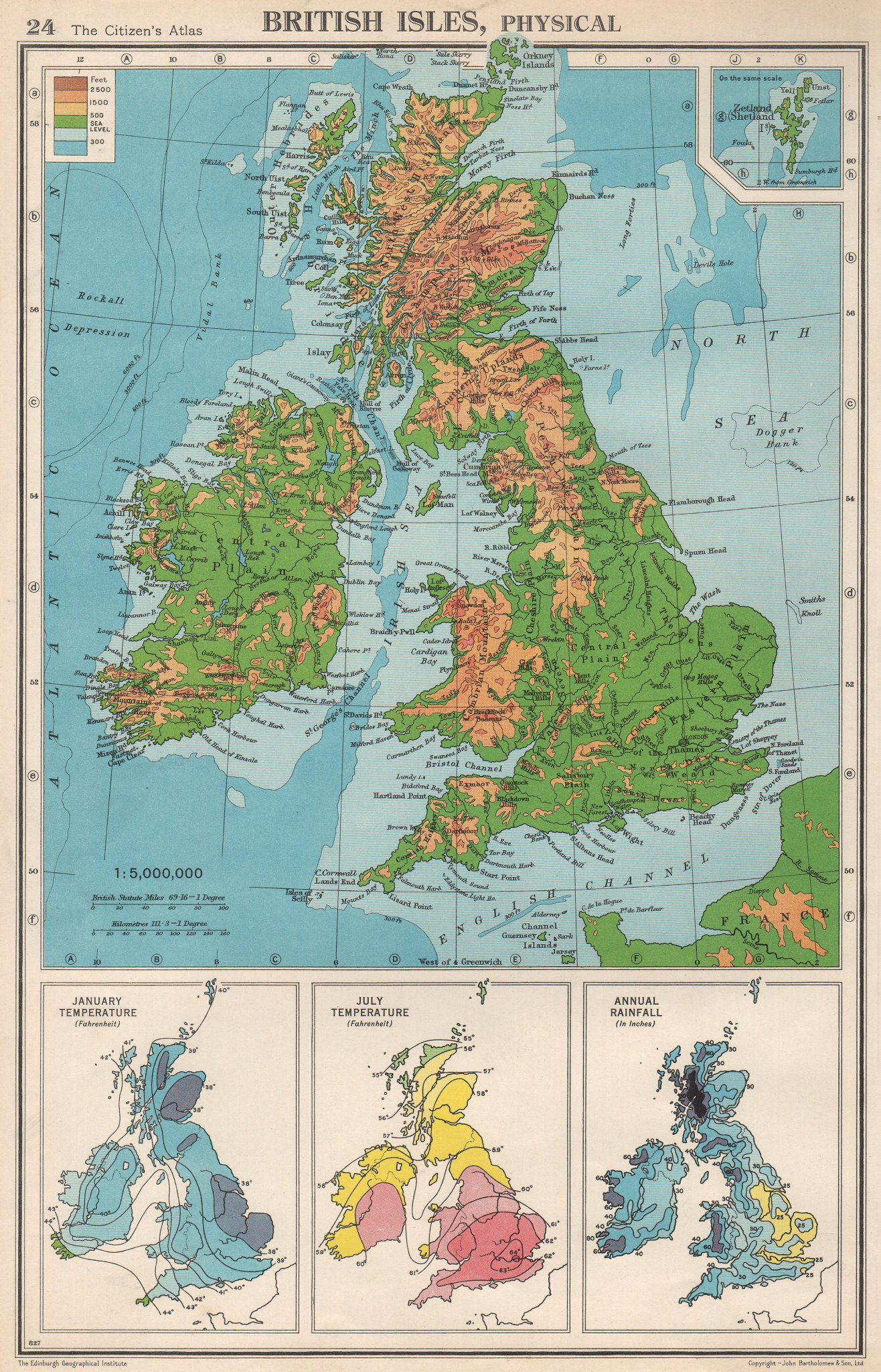 Associate Product BRITISH ISLES PHYSICAL & CLIMATE. January July temperature. Rainfall 1952 map
