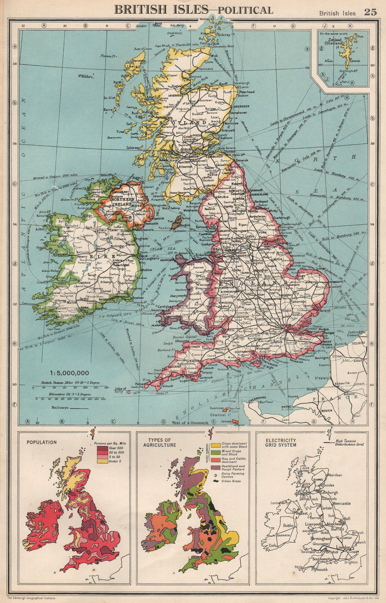 Associate Product BRITISH ISLES. Population density. Agriculture types. Electricity Grid 1952 map