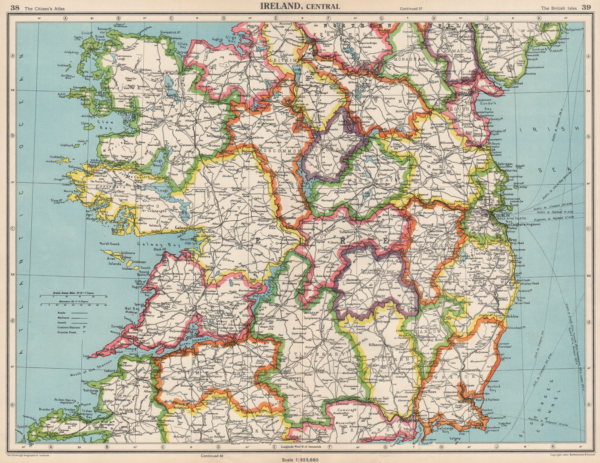 Associate Product IRELAND CENTRAL. Connaught & Leinster. Eire. BARTHOLOMEW 1952 old vintage map
