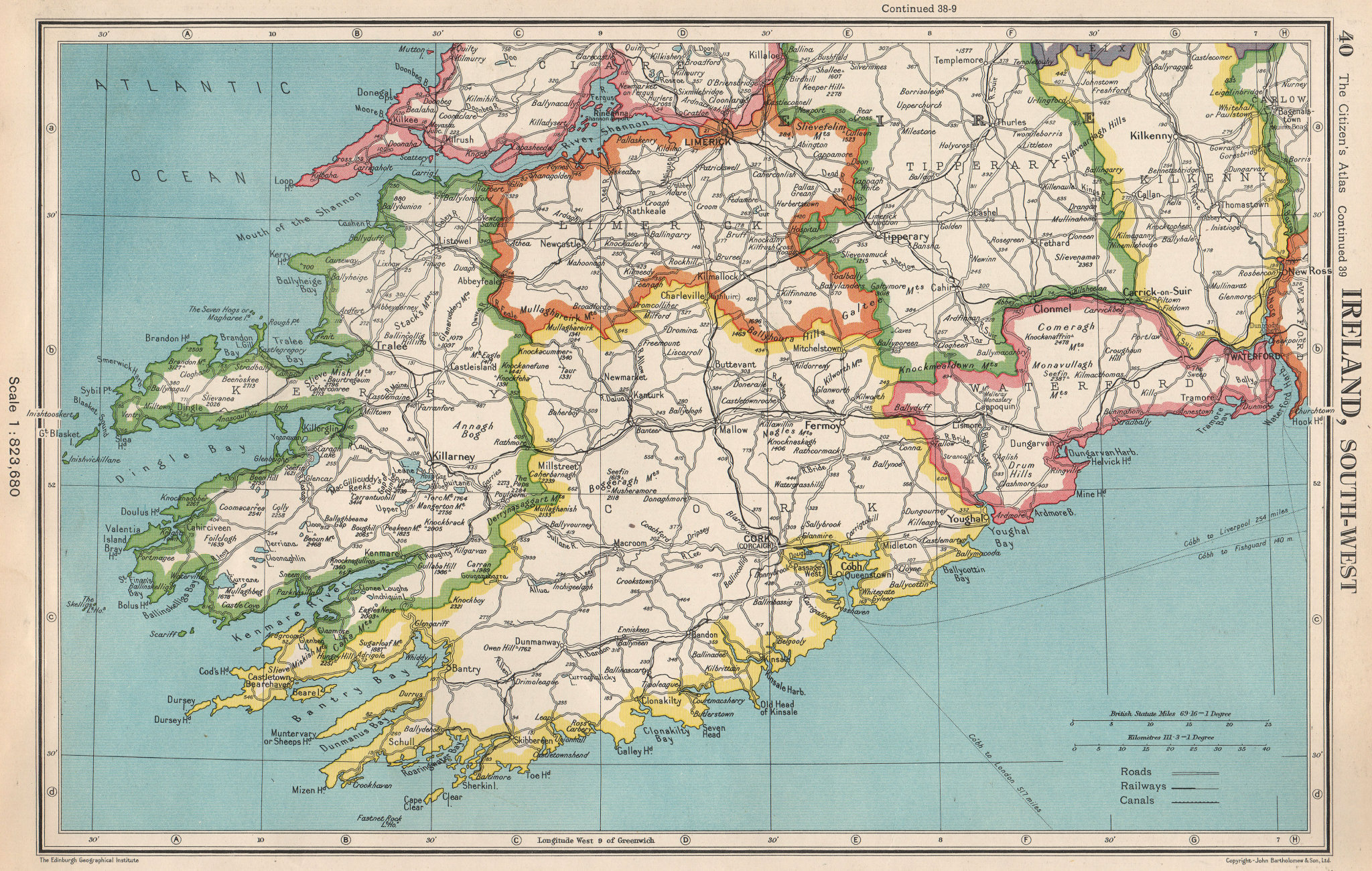 Associate Product IRELAND SOUTH-WEST. Munster. Kerry Cork Limerick Tipperary Waterford 1952 map