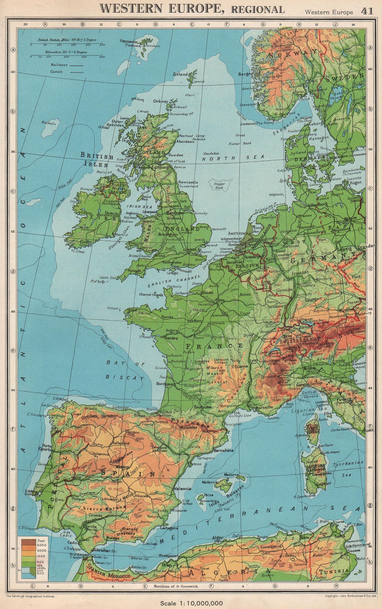 Associate Product WESTERN EUROPE. Physical & main railways. BARTHOLOMEW 1952 old vintage map