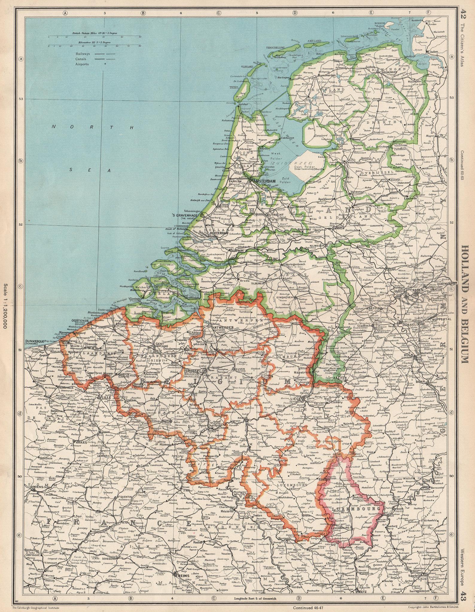 Associate Product BENELUX. Netherlands shows Oost Polder (Flevopolder) under construction 1952 map