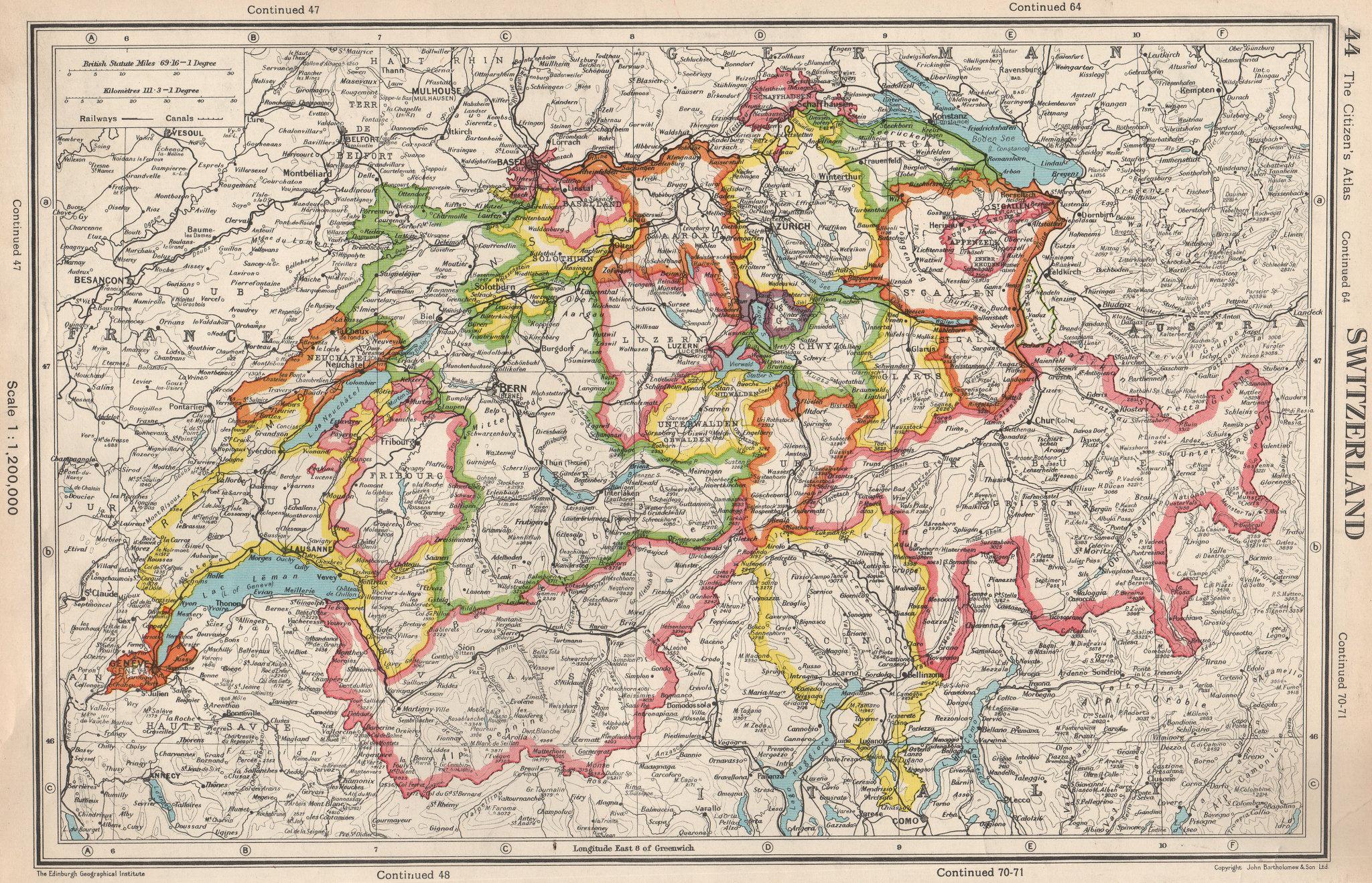Associate Product SWITZERLAND. showing cantons & railways. BARTHOLOMEW 1952 old vintage map